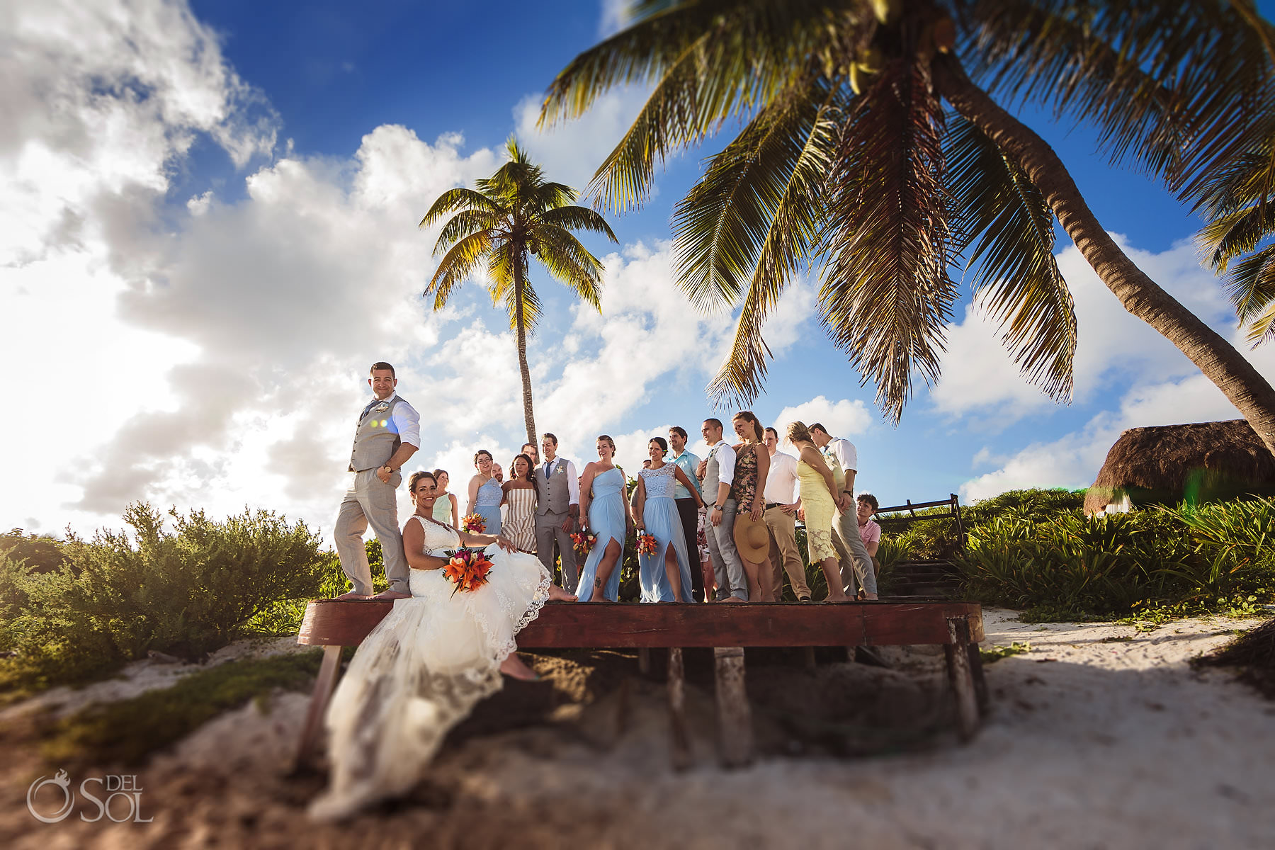 Dreams Tulum Wedding Party Newlyweds Portrait Palms