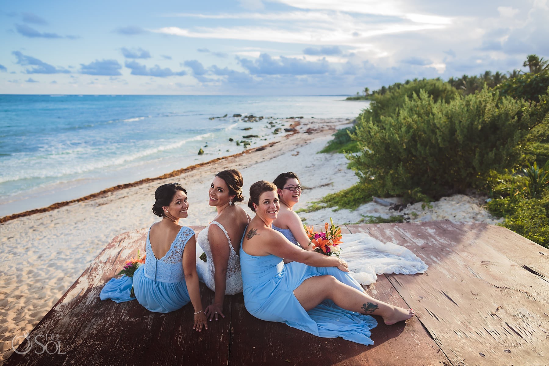 Dreams Tulum Beachfront Bridal Party Light Blue dresses Portrait