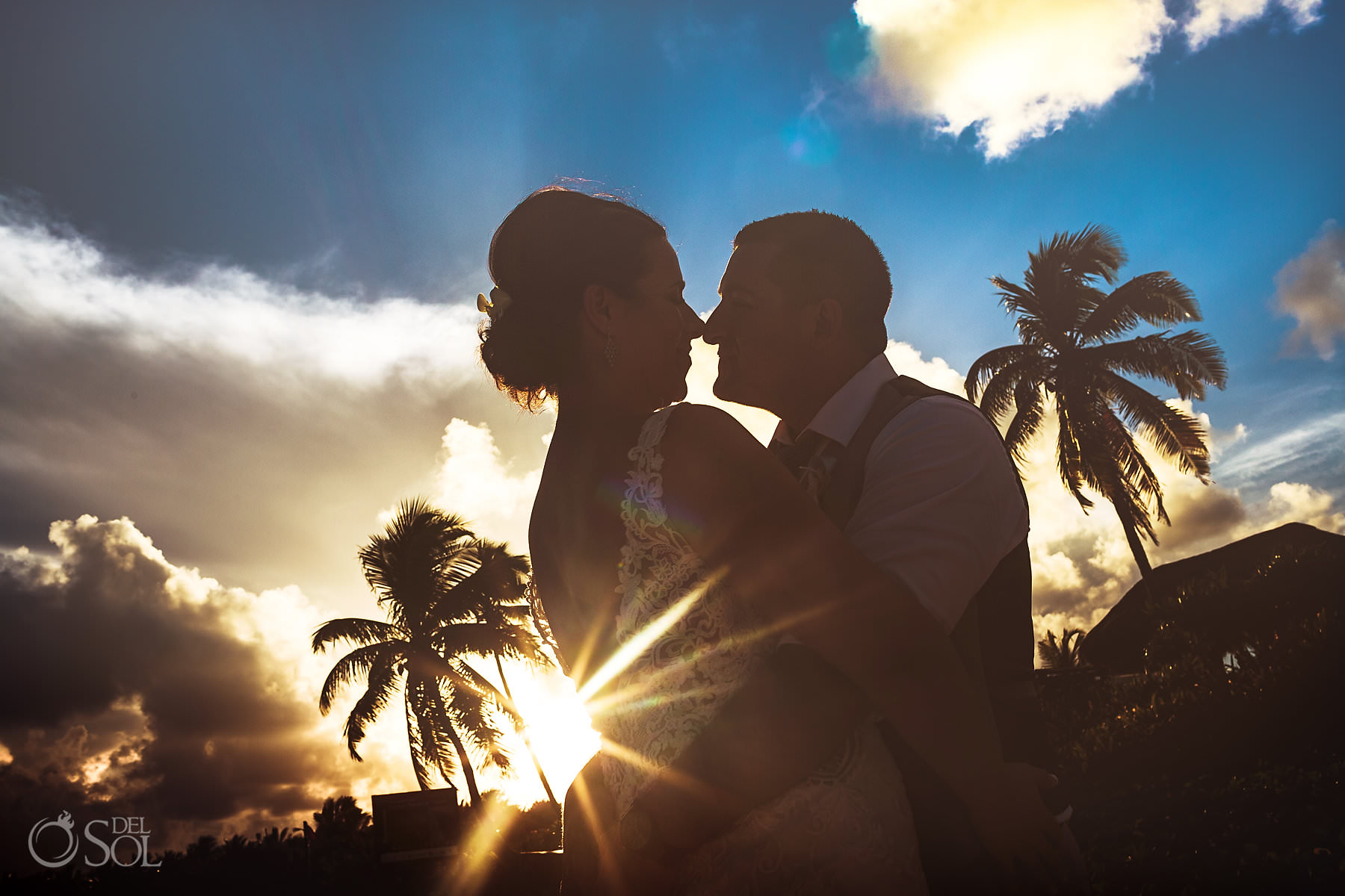 Dreams Tulum Beach dramatic sunset newlywed portrait session