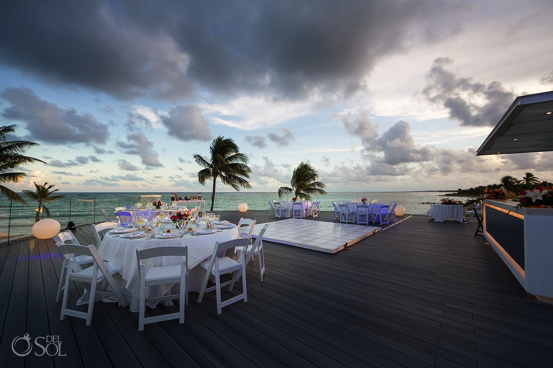 dreams tulum wedding sunset terrace decorations