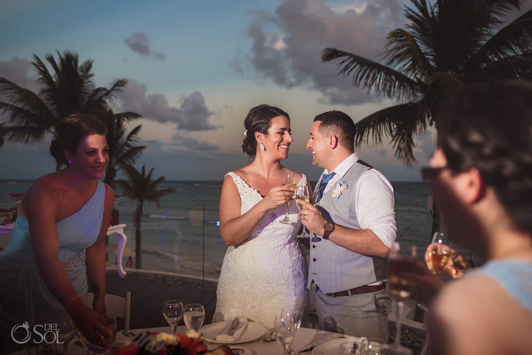 dreams tulum wedding sunset terrace First Toast