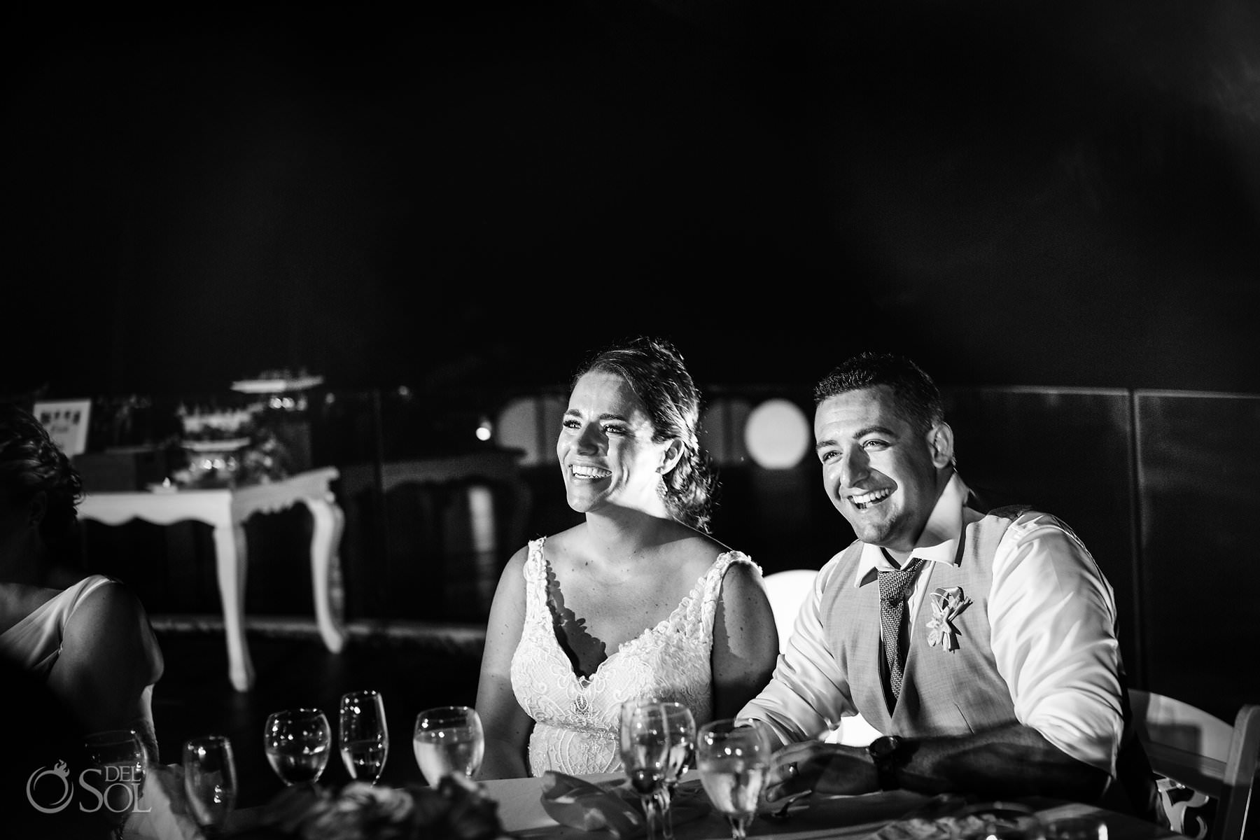 dreams tulum wedding sunset terrace Groom and Bride black white portrait