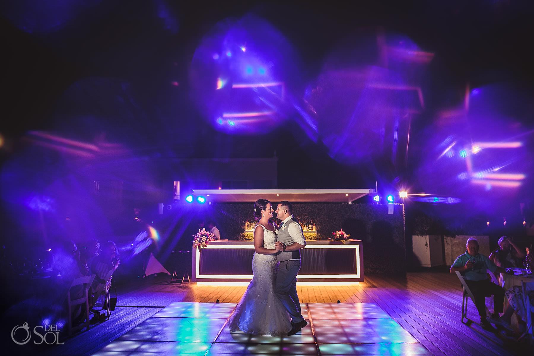 dreams tulum wedding sunset terrace newlyweds first dance