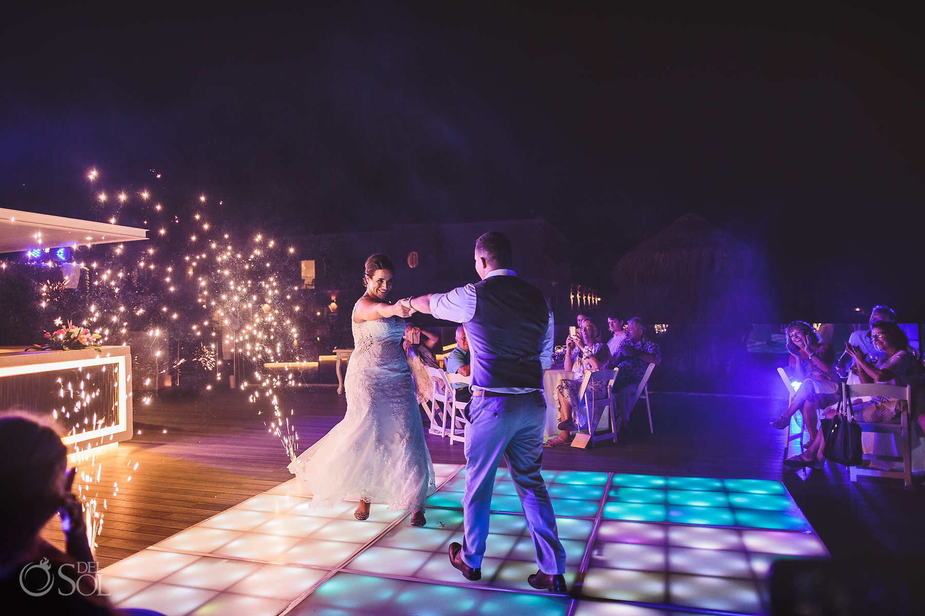 dreams tulum wedding sunset terrace newlyweds first dance fireworks
