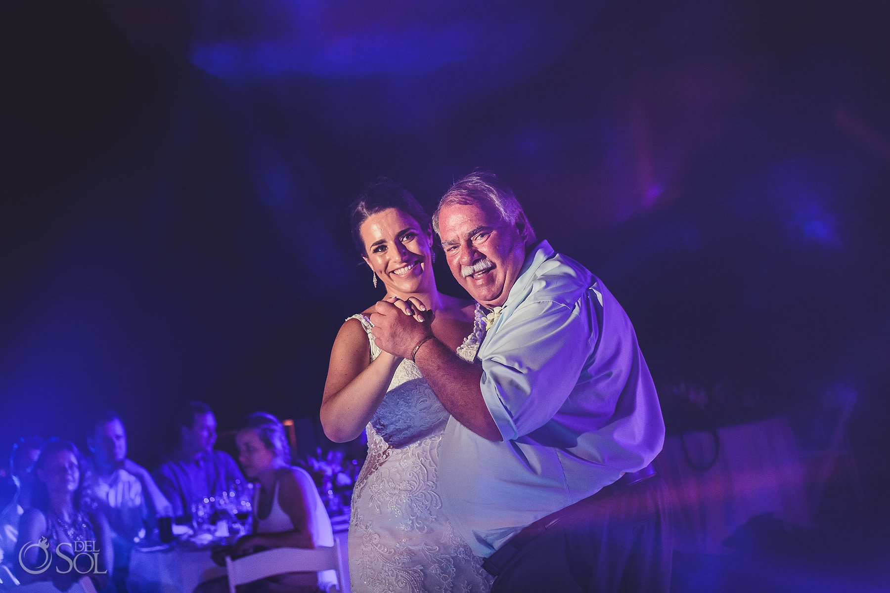 dreams tulum wedding sunset terrace bride and father dance