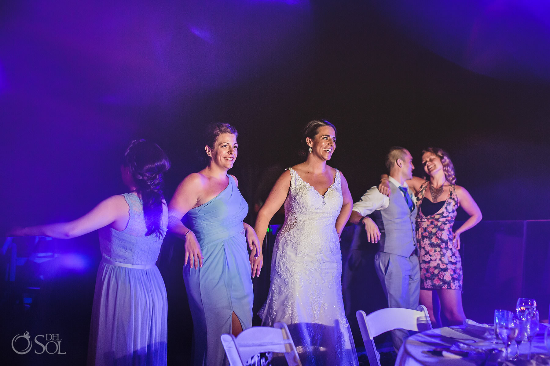 dreams tulum wedding sunset terrace bride and bridesmaid documentary photography