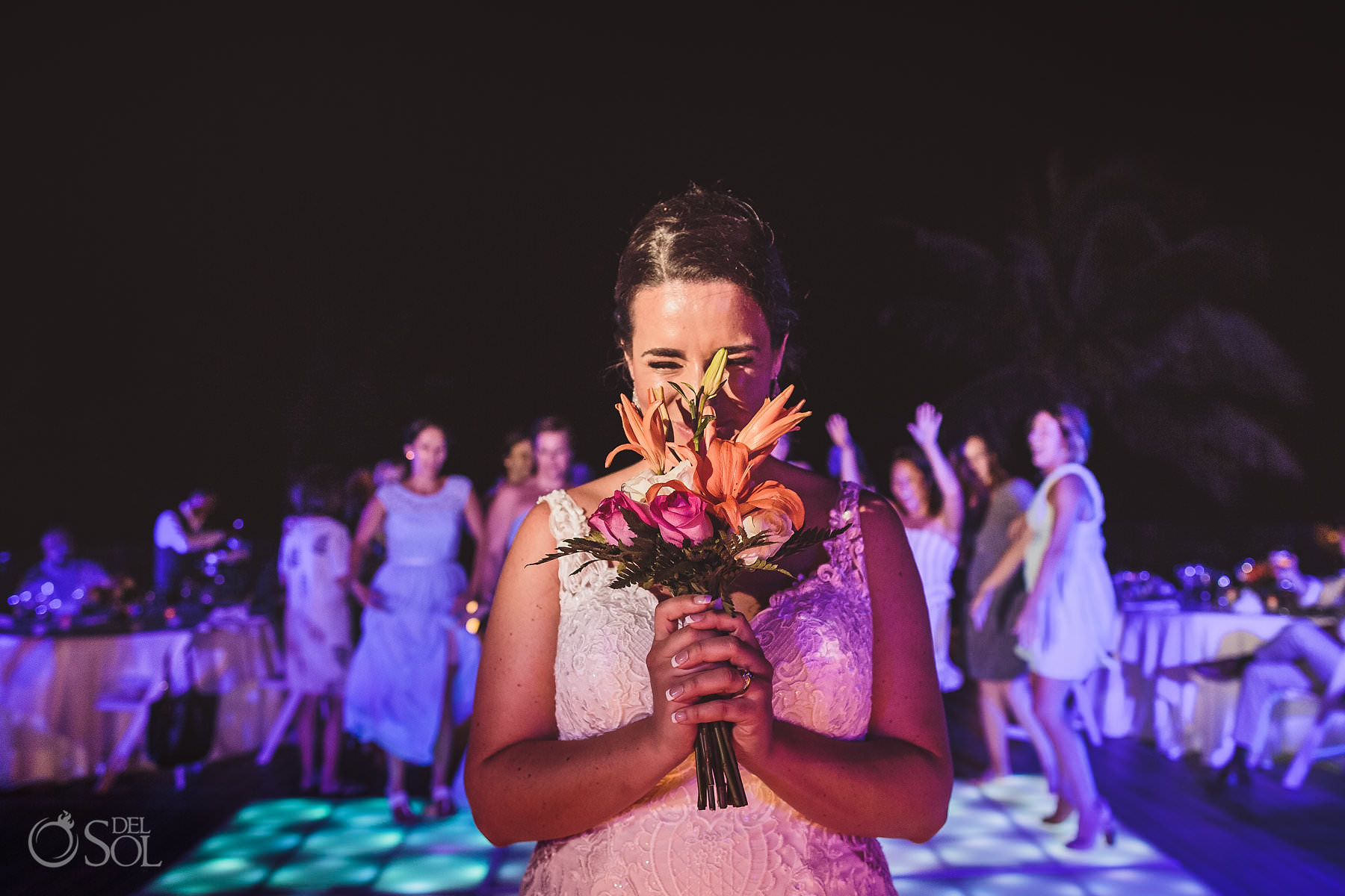 dreams tulum wedding sunset terrace bride Throwing the Bouquet
