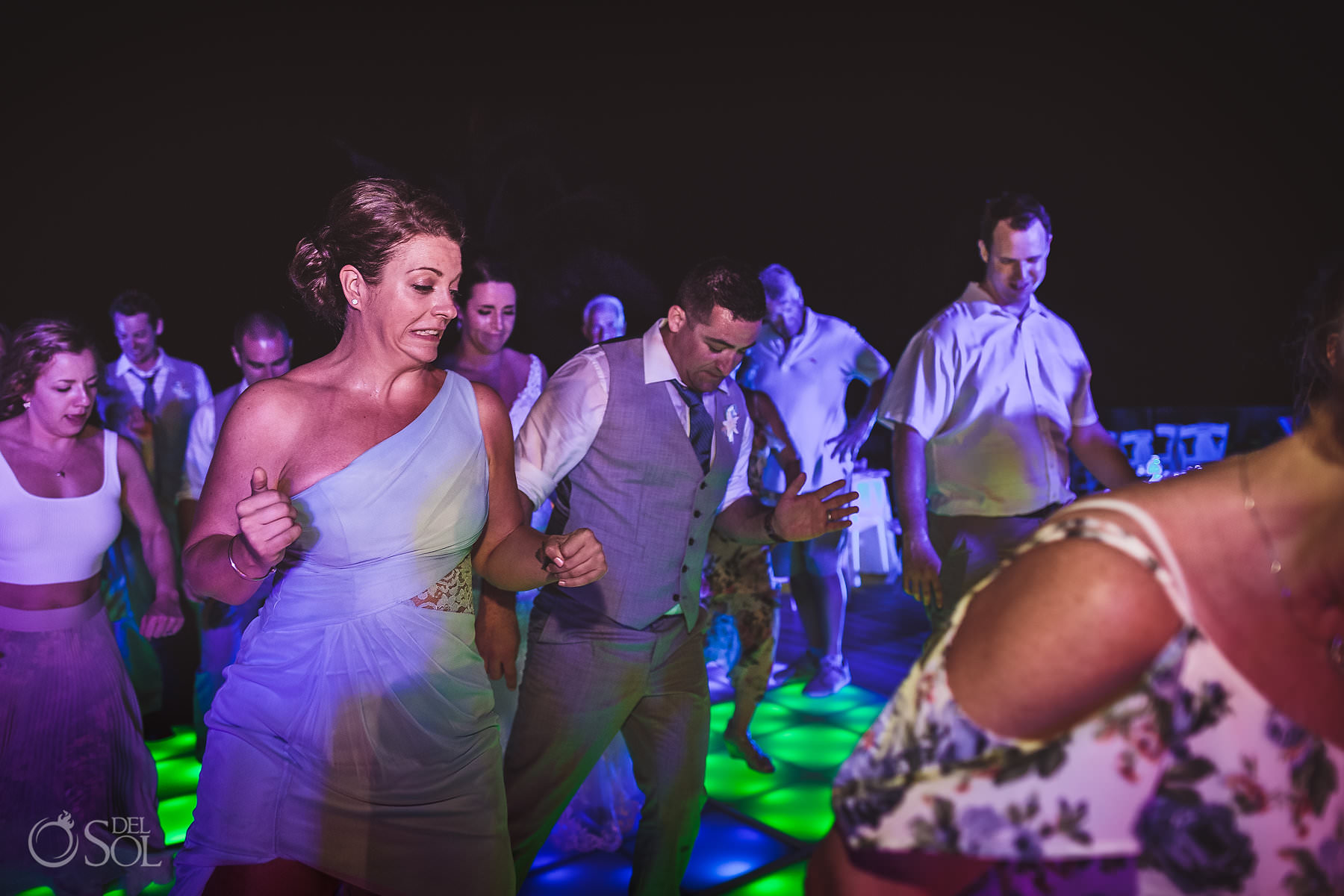 dreams tulum wedding sunset terrace reception party disco floor