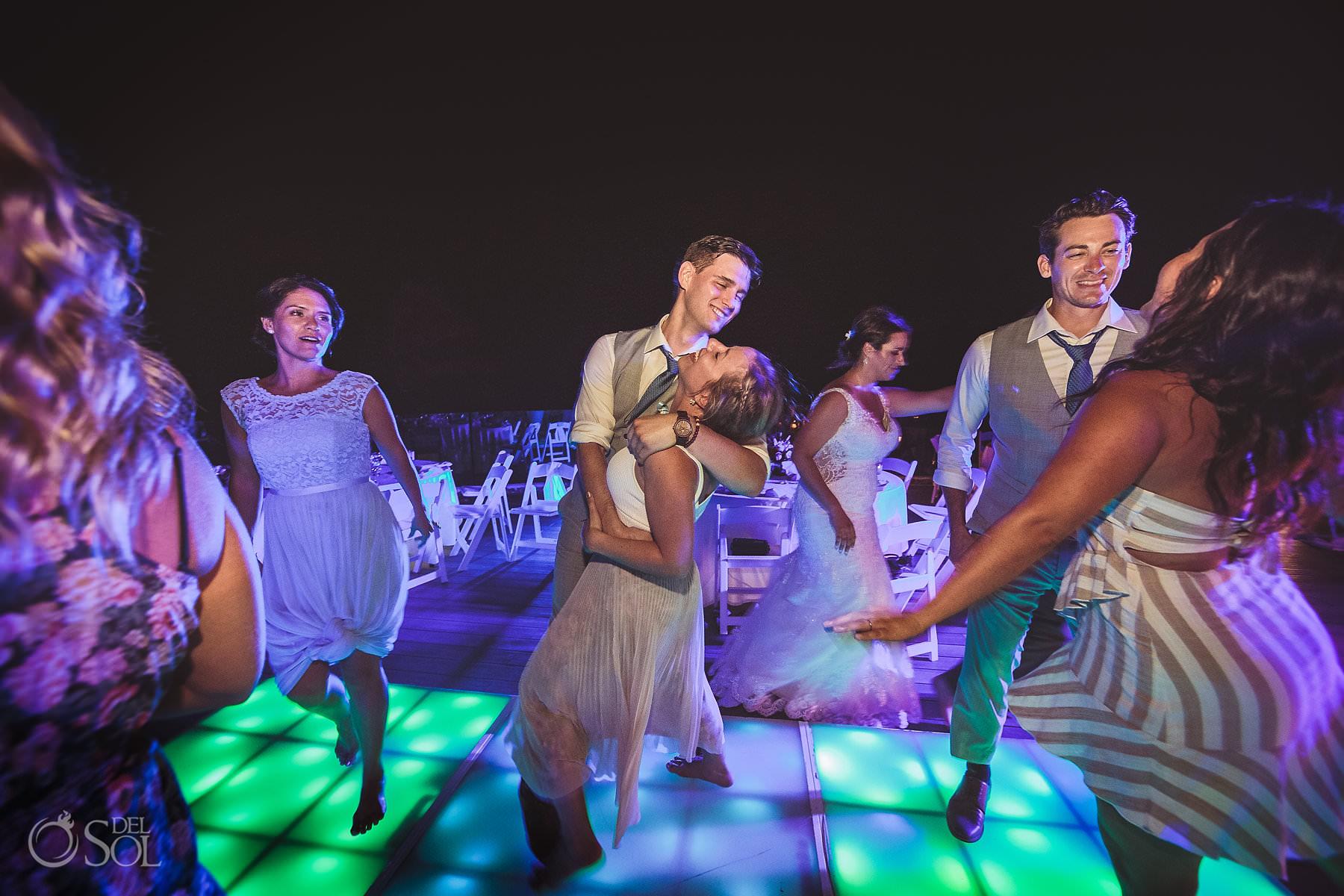 dreams tulum wedding sunset terrace reception party disco floor