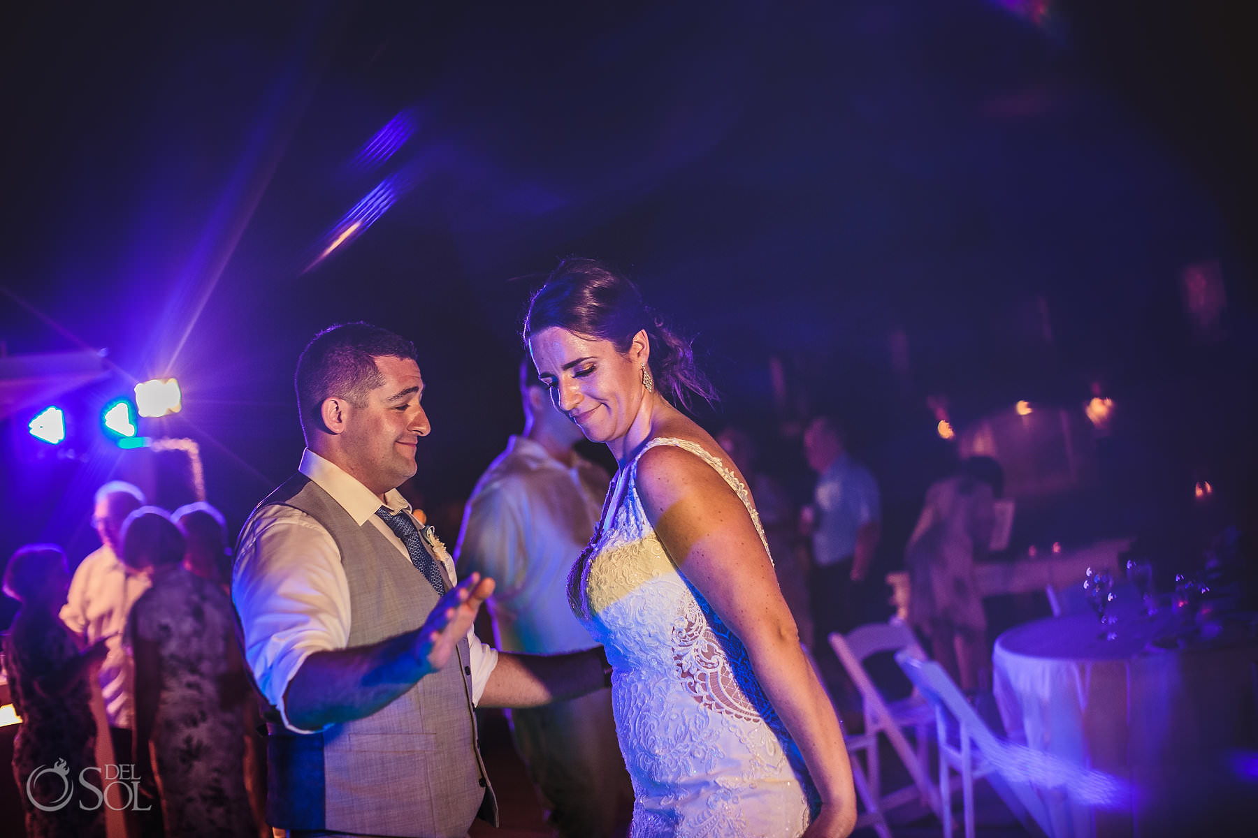 dreams tulum wedding sunset terrace reception party bride and groom having fun