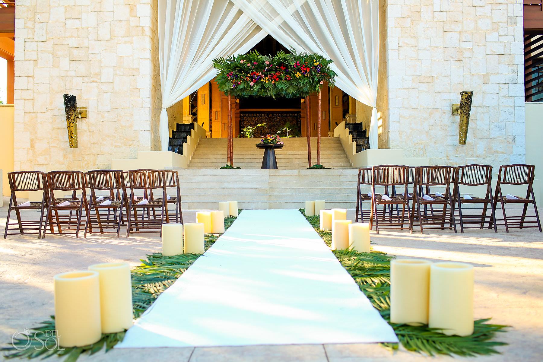 Grand Staircase Dreams Riviera Cancun Wedding ceremony setup