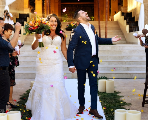 Just married Dreams Riviera Cancun wedding
