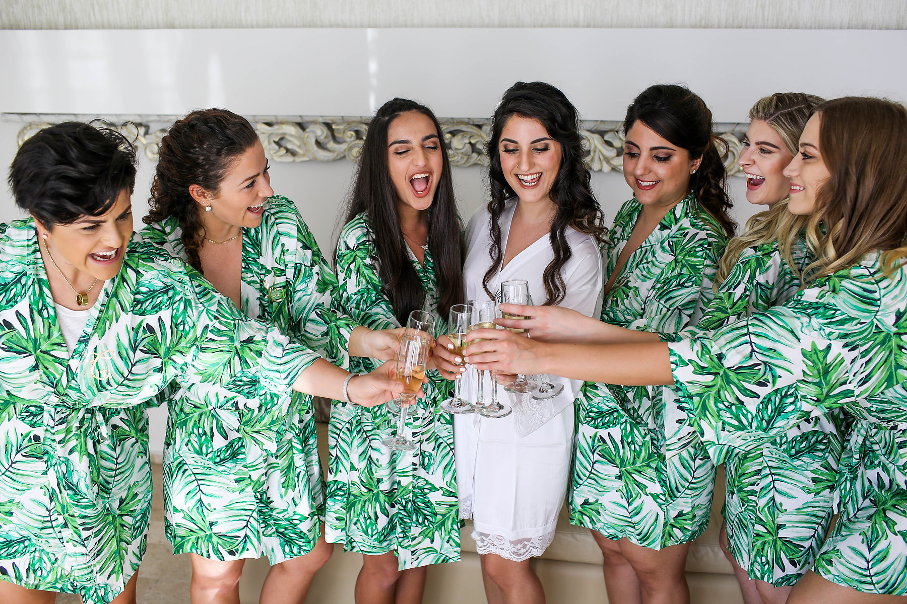 bridal Party tropical silk robe getting ready toast