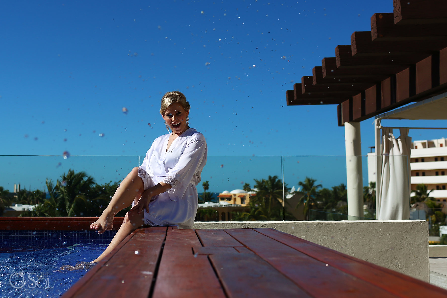 Amazing Bride Getting ready photo session at balcony pool Hotel Privilege Aluxes Isla Mujeres