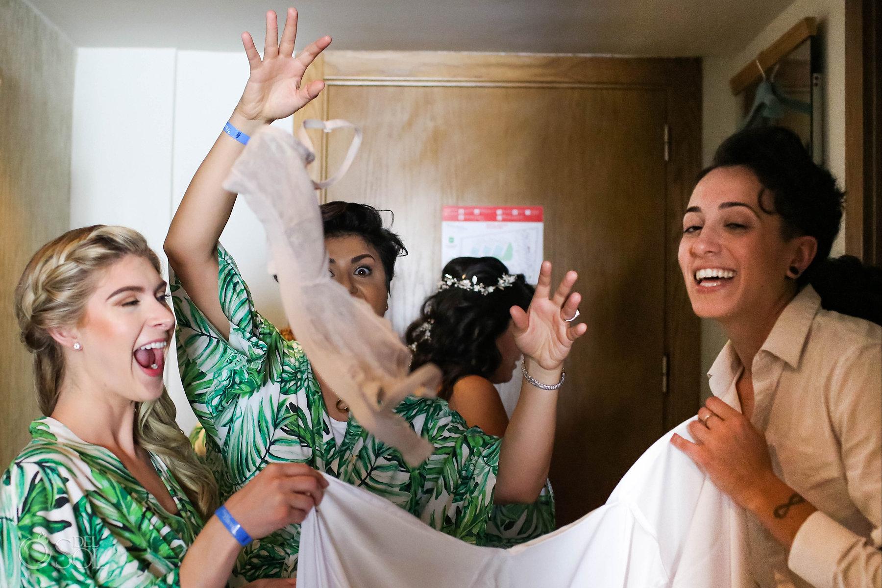 Documentary lesbian wedding photography getting ready