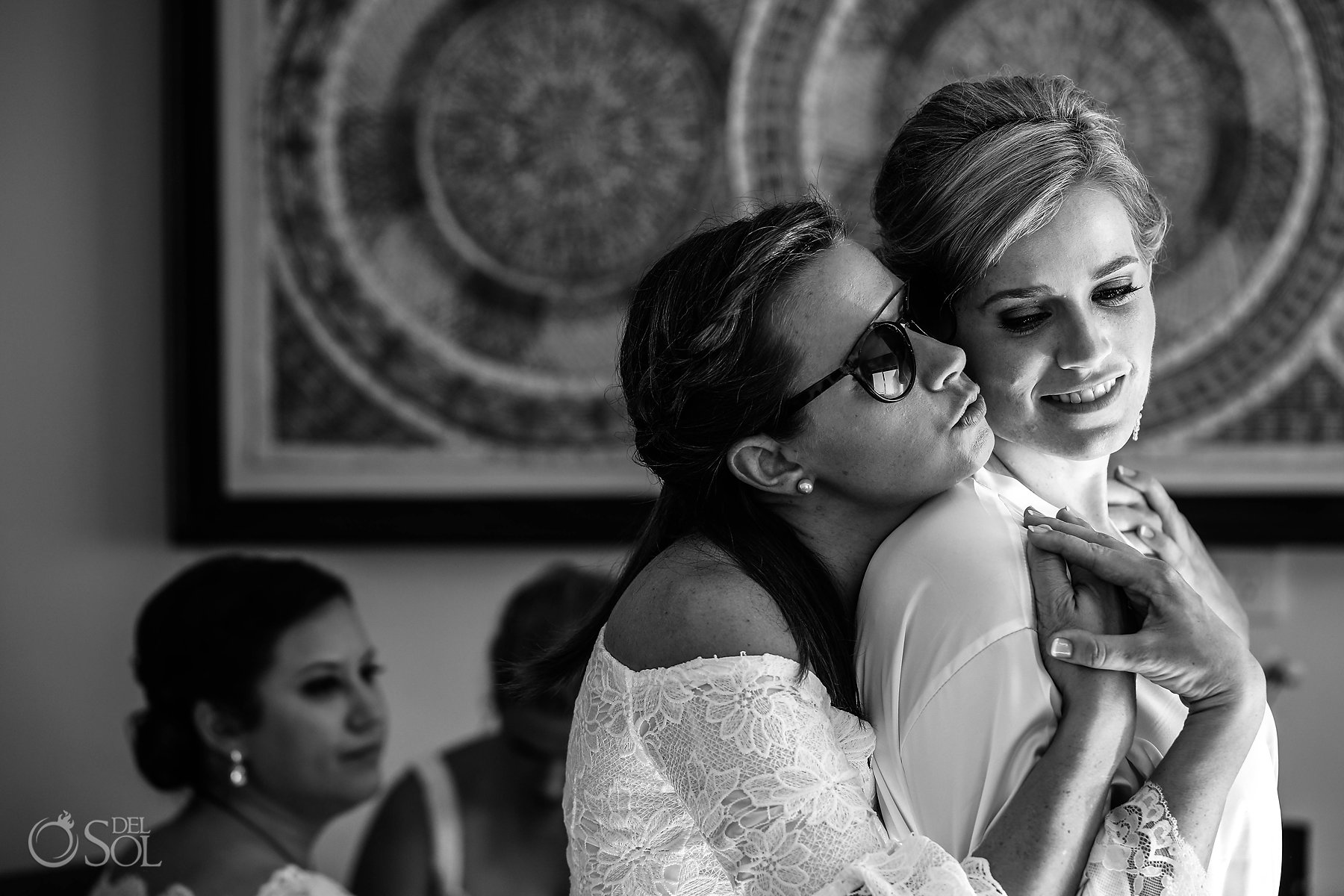 black and white bridal and sister candid portrait photography