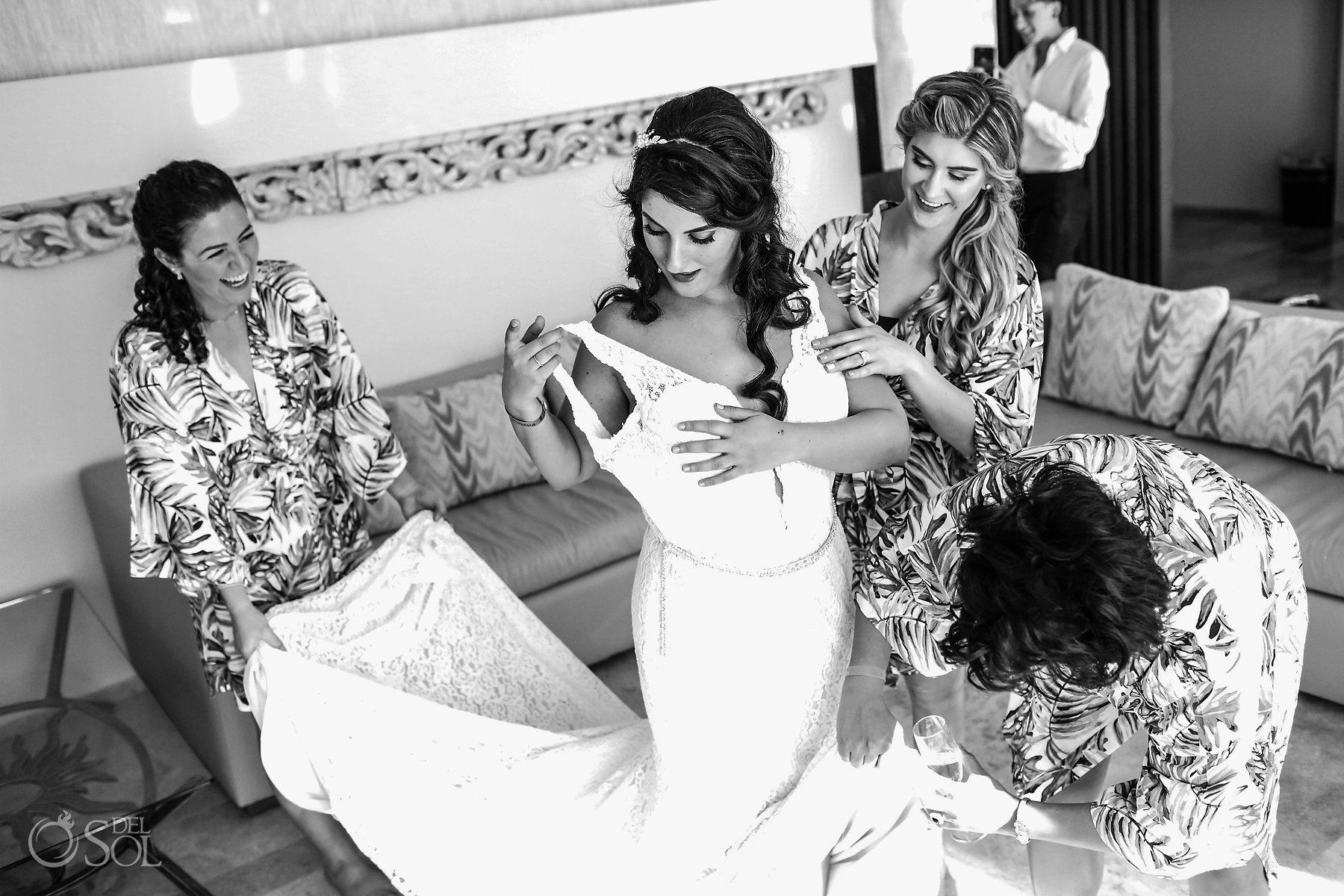 black and white bridal getting ready candid portrait photography