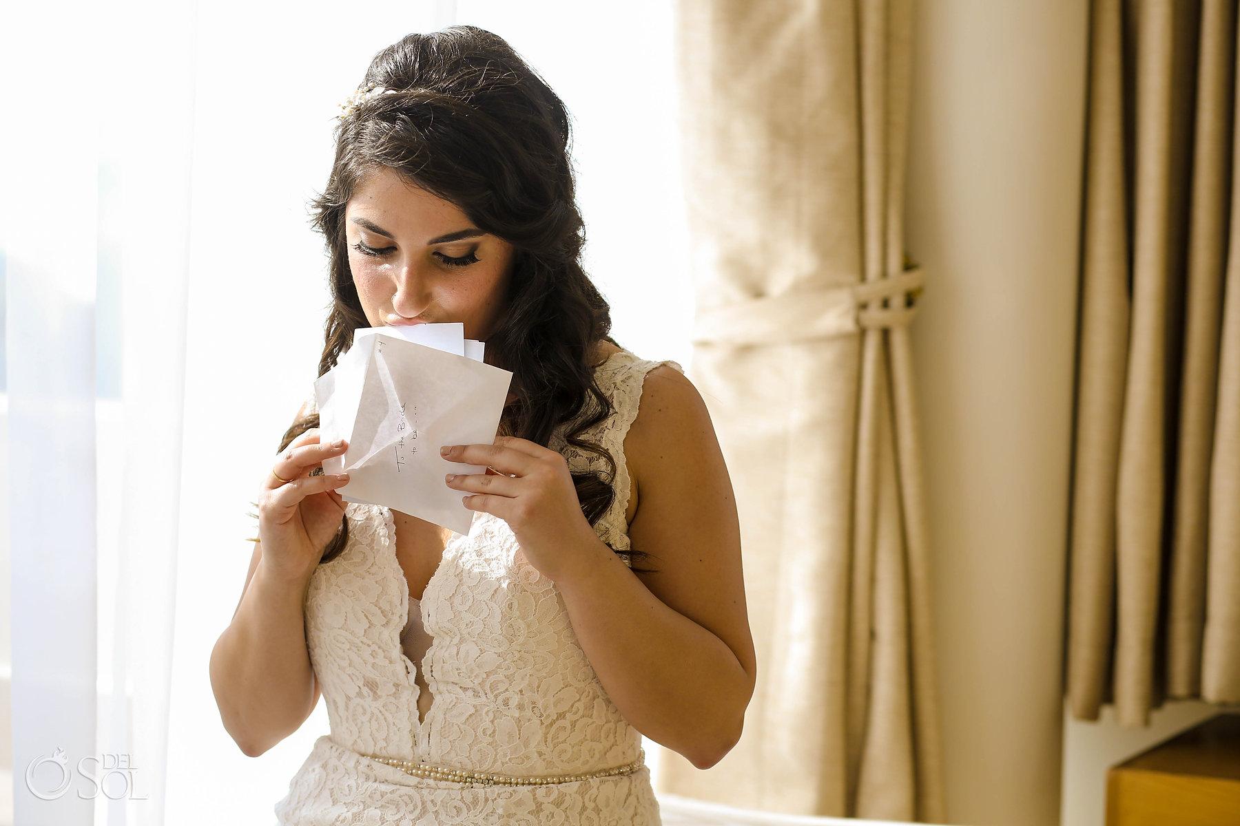 Bridal reading love letter before ceremony
