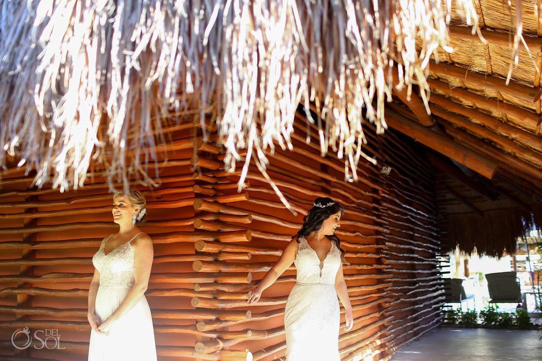 First look Ideas Isla Mujeres lesbian wedding