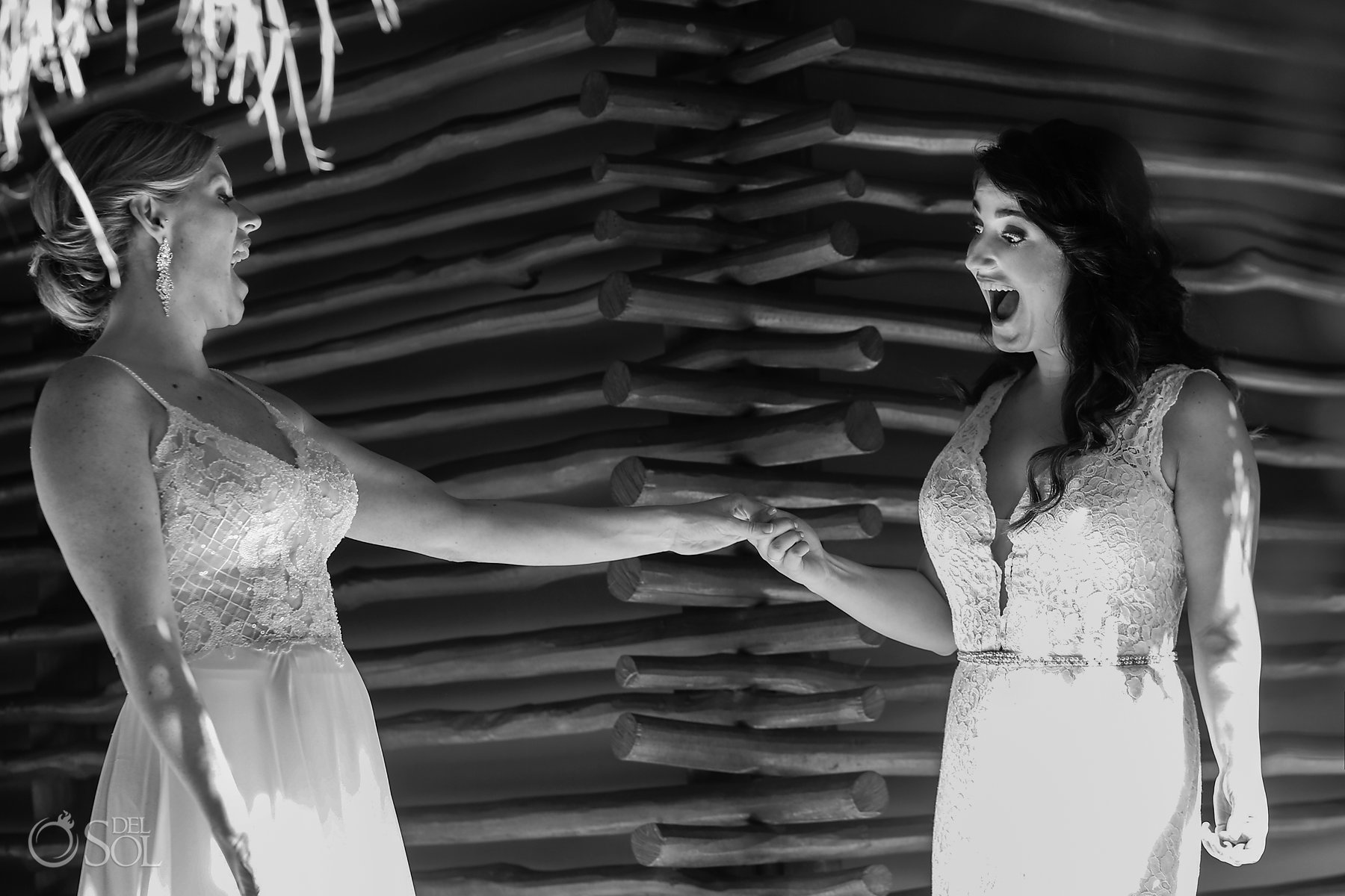bride and bride first look epic expression Isla Mujeres lesbian wedding