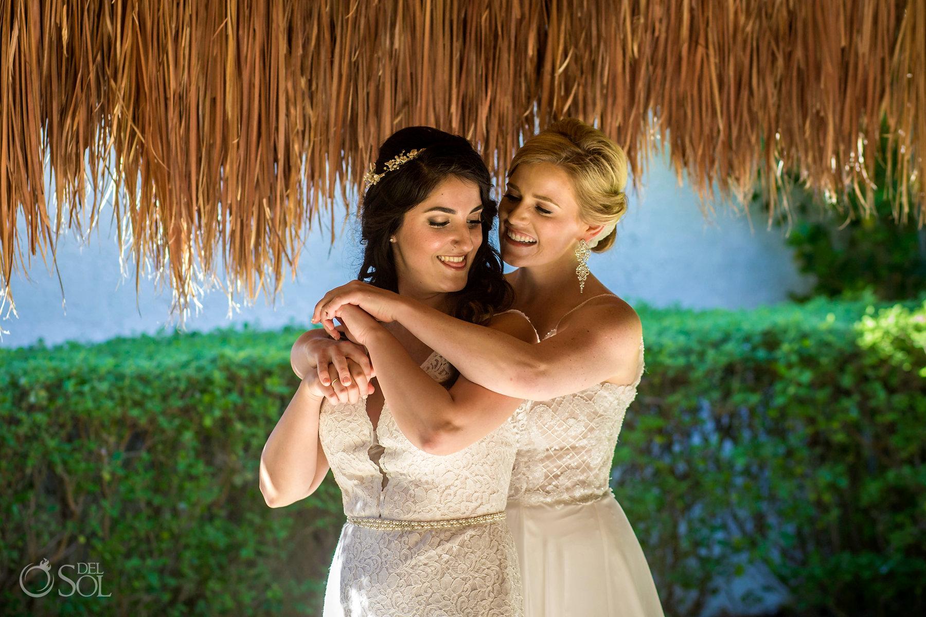Candid Portrait Isla Mujeres lesbian wedding