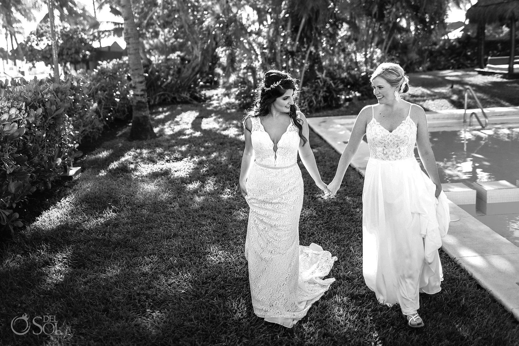 Black and White Isla Mujeres Lesbian Wedding