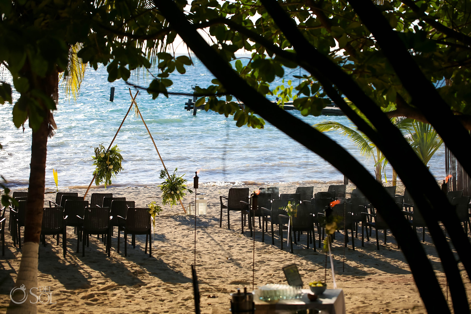 Isla Mujeres wedding ceremony Zama Beach Setup