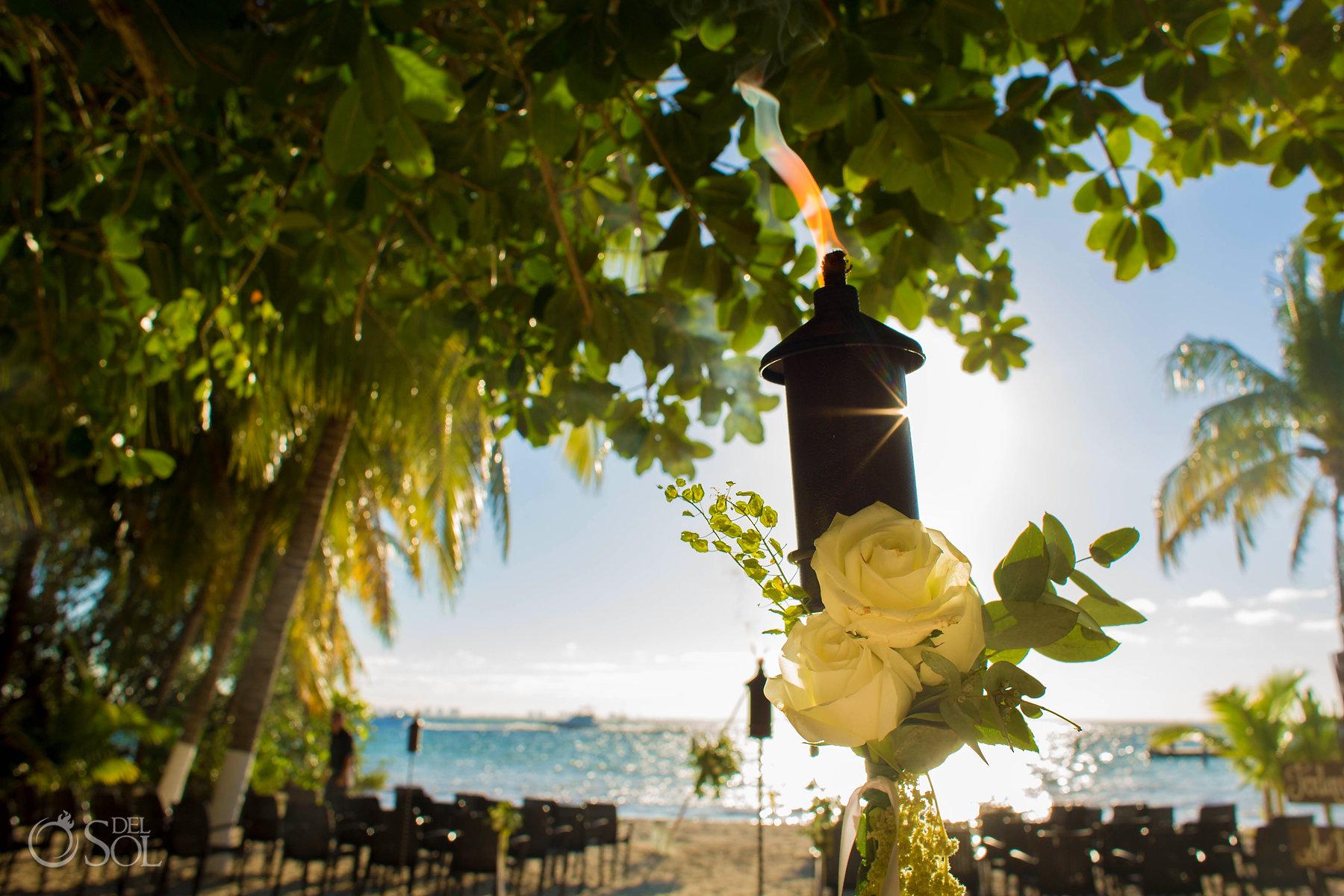 Isla Mujeres wedding ceremony Zama Beach Setup White roses details