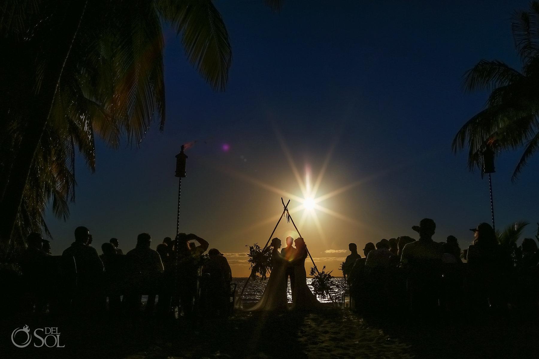 triangle arch wedding setup Isla Mujeres lesbian ceremony Zama Beach