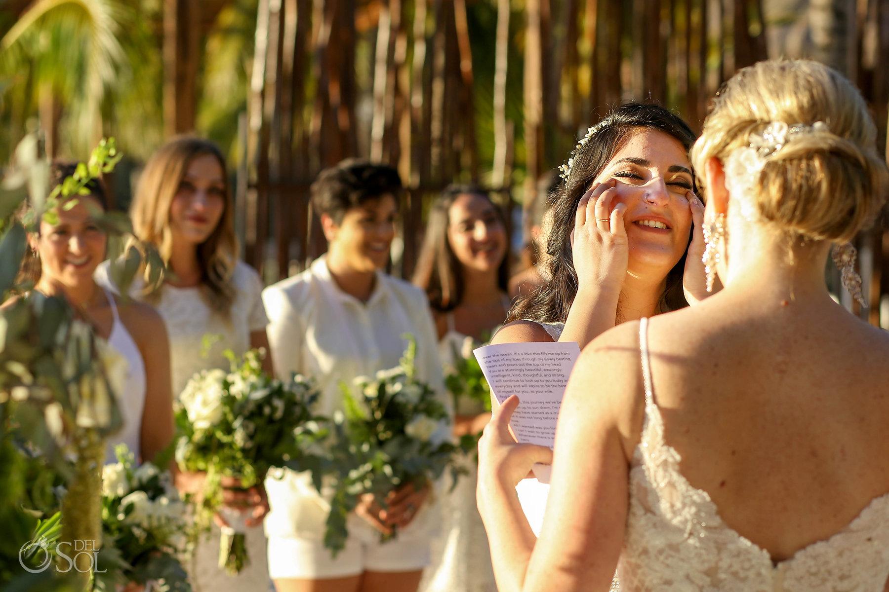 Emotional bride vows Isla Mujeres lesbian wedding ceremony Zama Beach