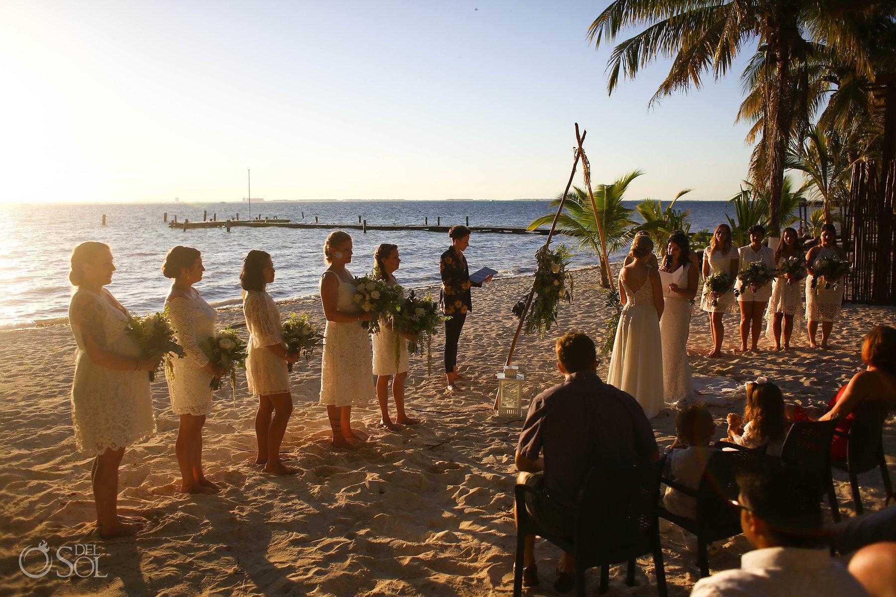 Isla Mujeres lesbian wedding Ceremony Zama Beach