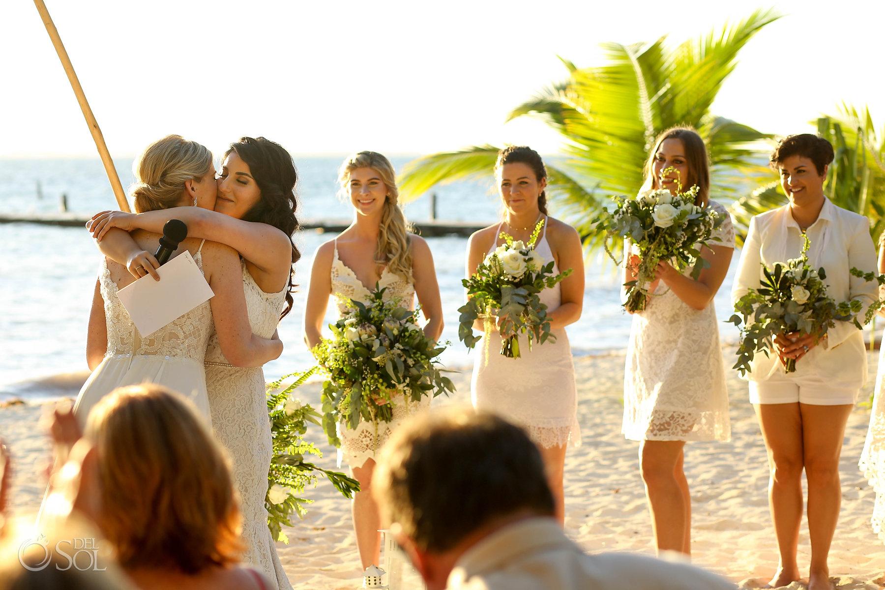 White Bridal Wedding Party Isla Mujeres lesbian ceremony Zama Beach