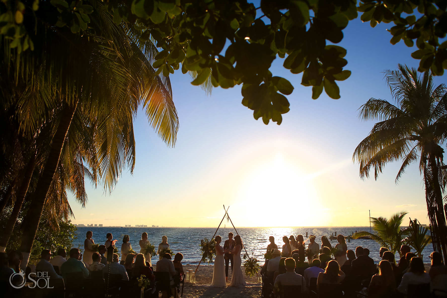 Isla Mujeres bride and bride wedding ceremony Zama Beach Sunset Setup