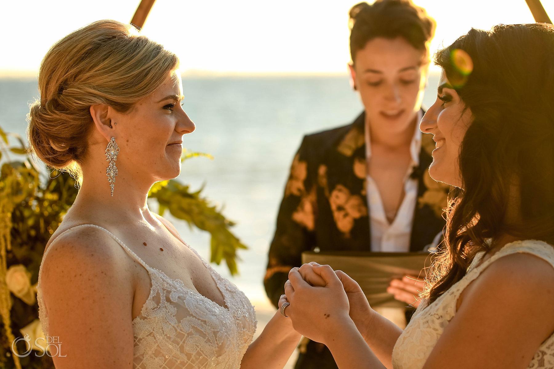I do moment Sunset Isla Mujeres lesbian wedding ceremony Zama Beach
