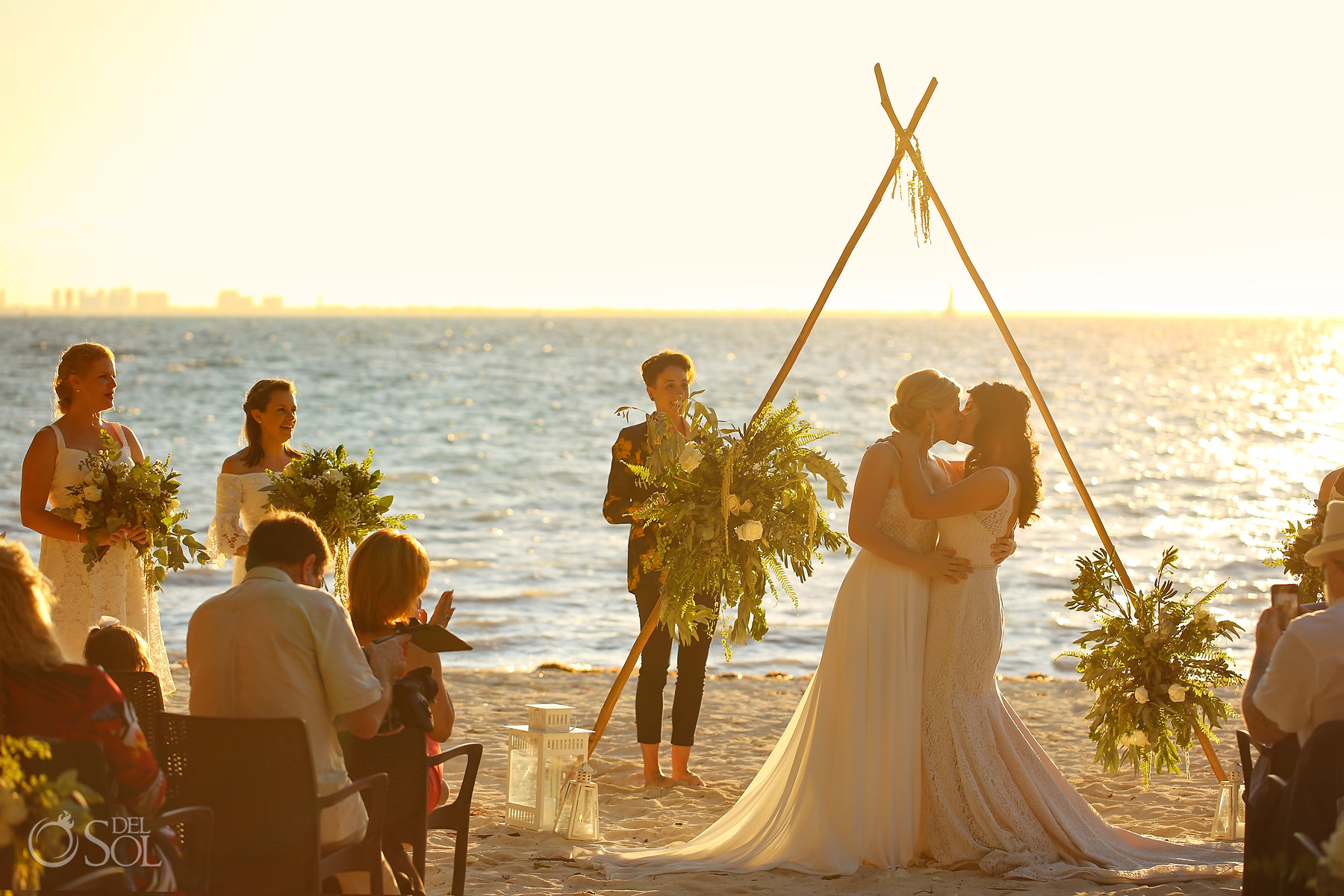 First Kiss Sunset Isla Mujeres LGBT wedding ceremony Zama Beach