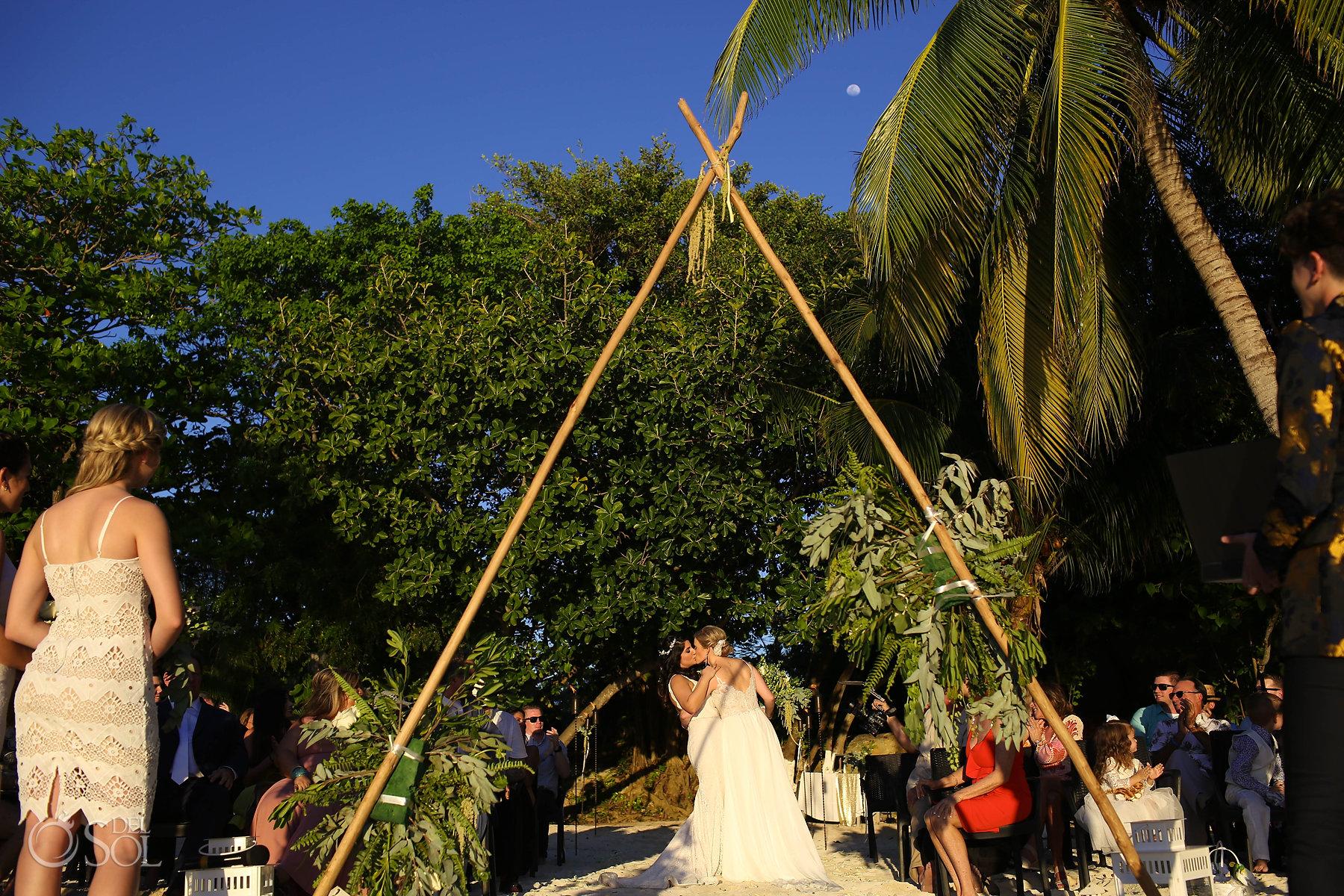 First Kiss Full moon Isla Mujeres same sex wedding ceremony Zama Beach