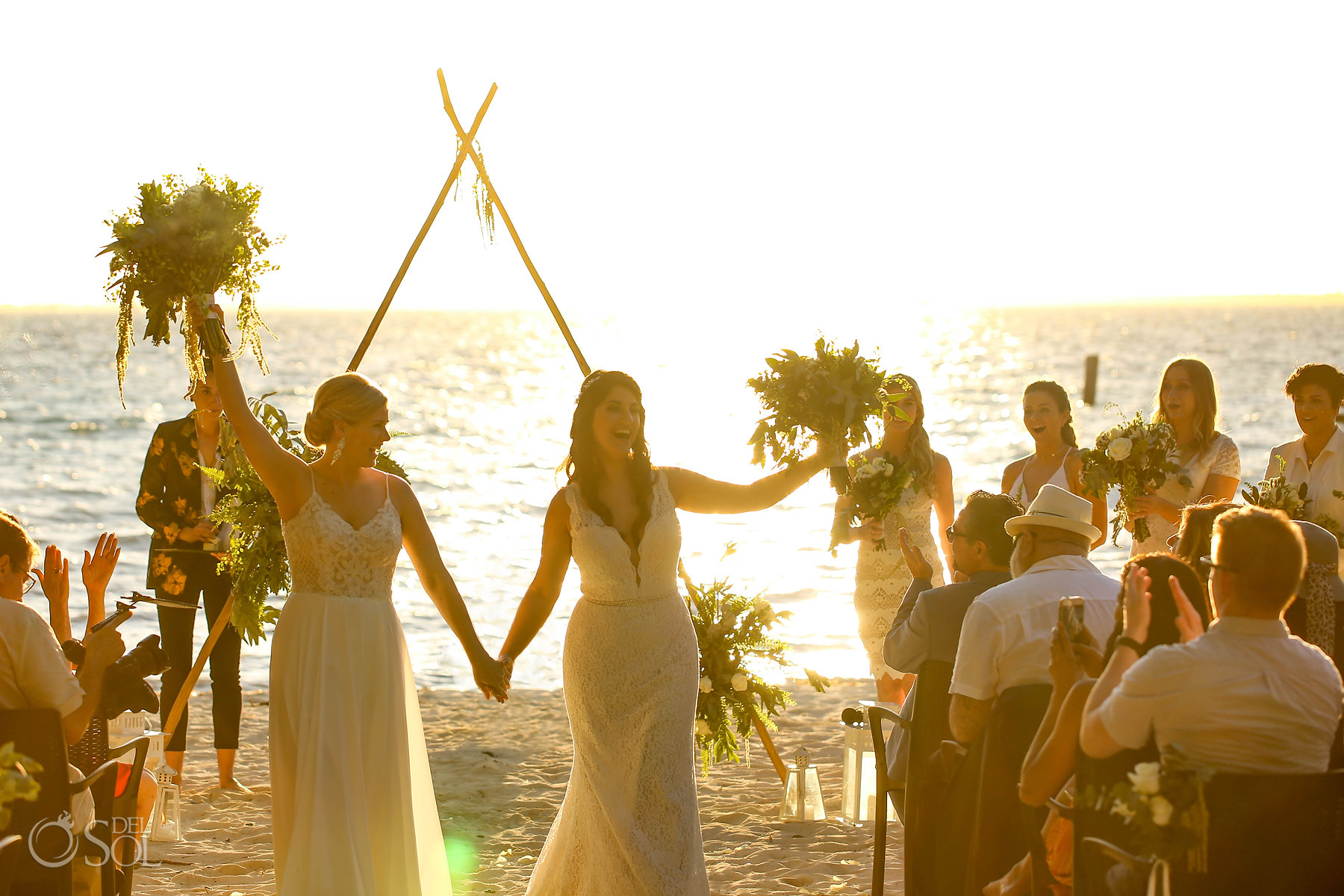 Just married sunset Isla Mujeres lesbian wedding ceremony Zama Beach