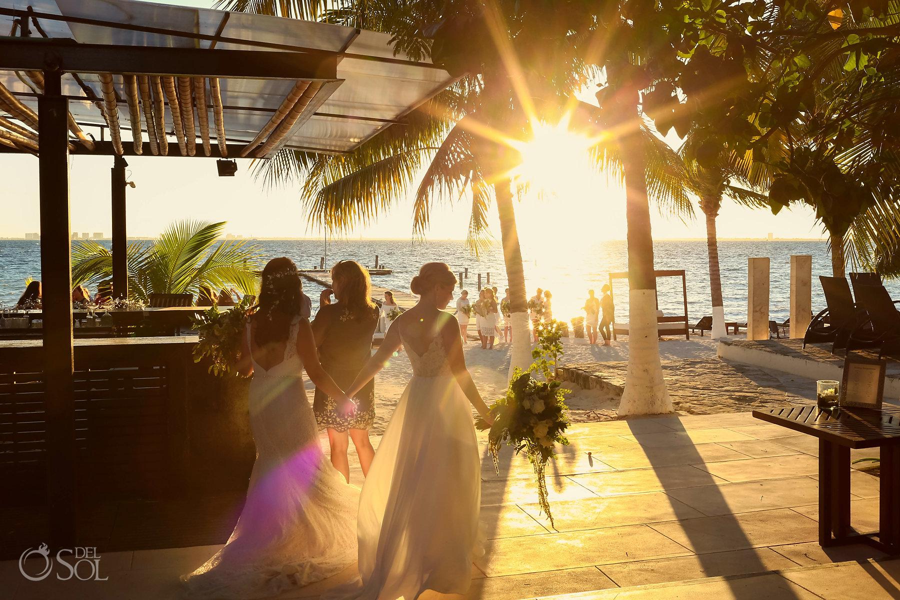 Romantic Sunset Photography Isla Mujeres lesbian wedding ceremony Zama Beach