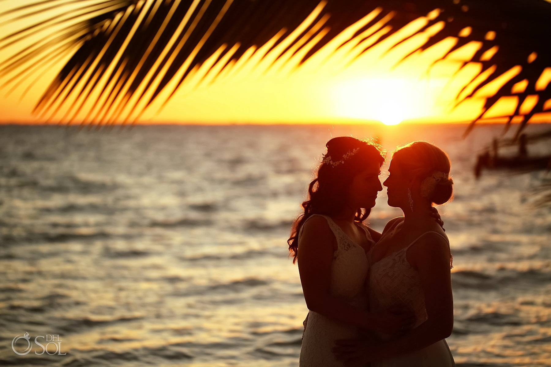 Warm Caribbean Sunset Queer lesbian wedding photo session Isla Mujeres Zama Beach