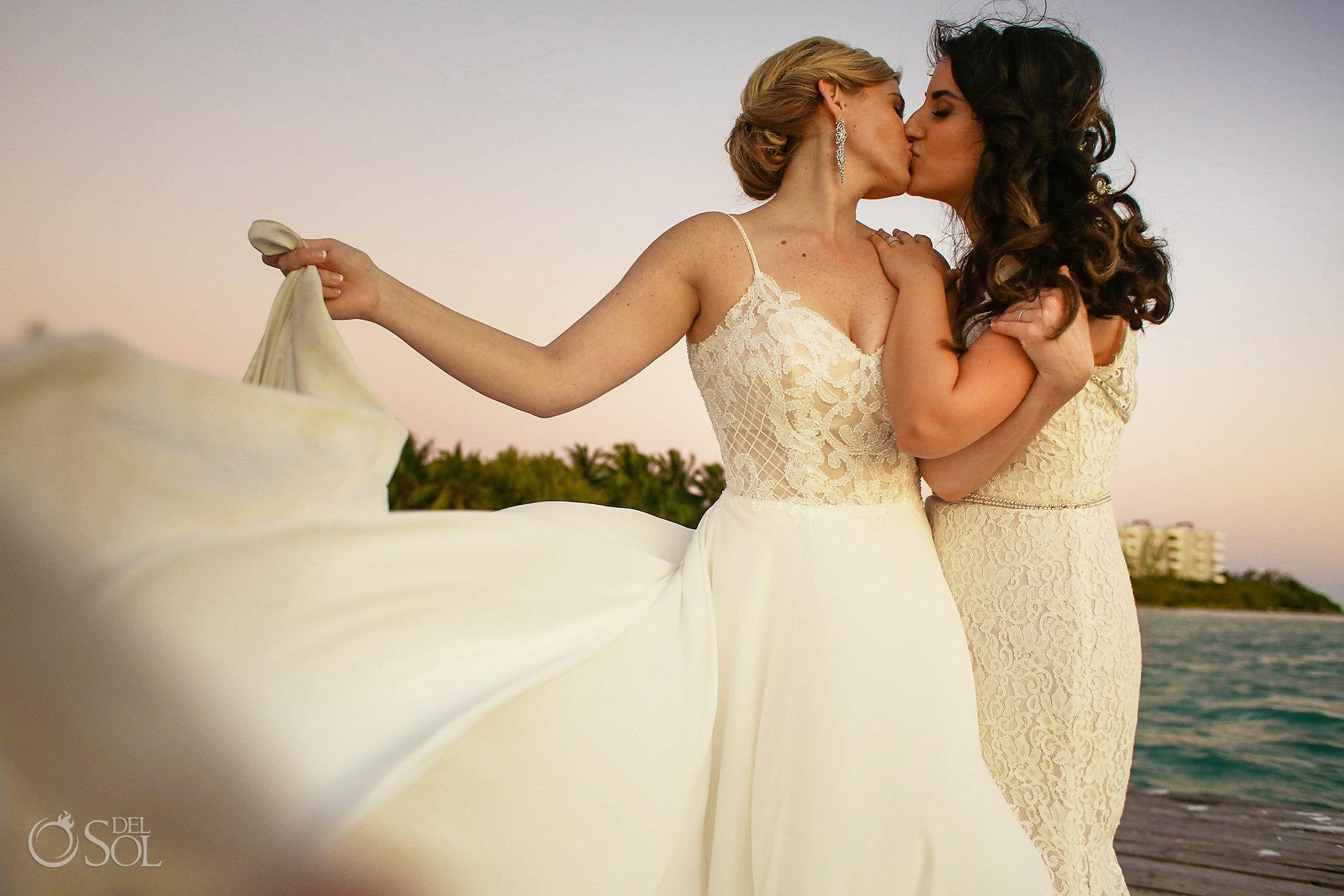 Homosexual Brides Kissing at Isla Mujeres lesbian wedding Zama Beach