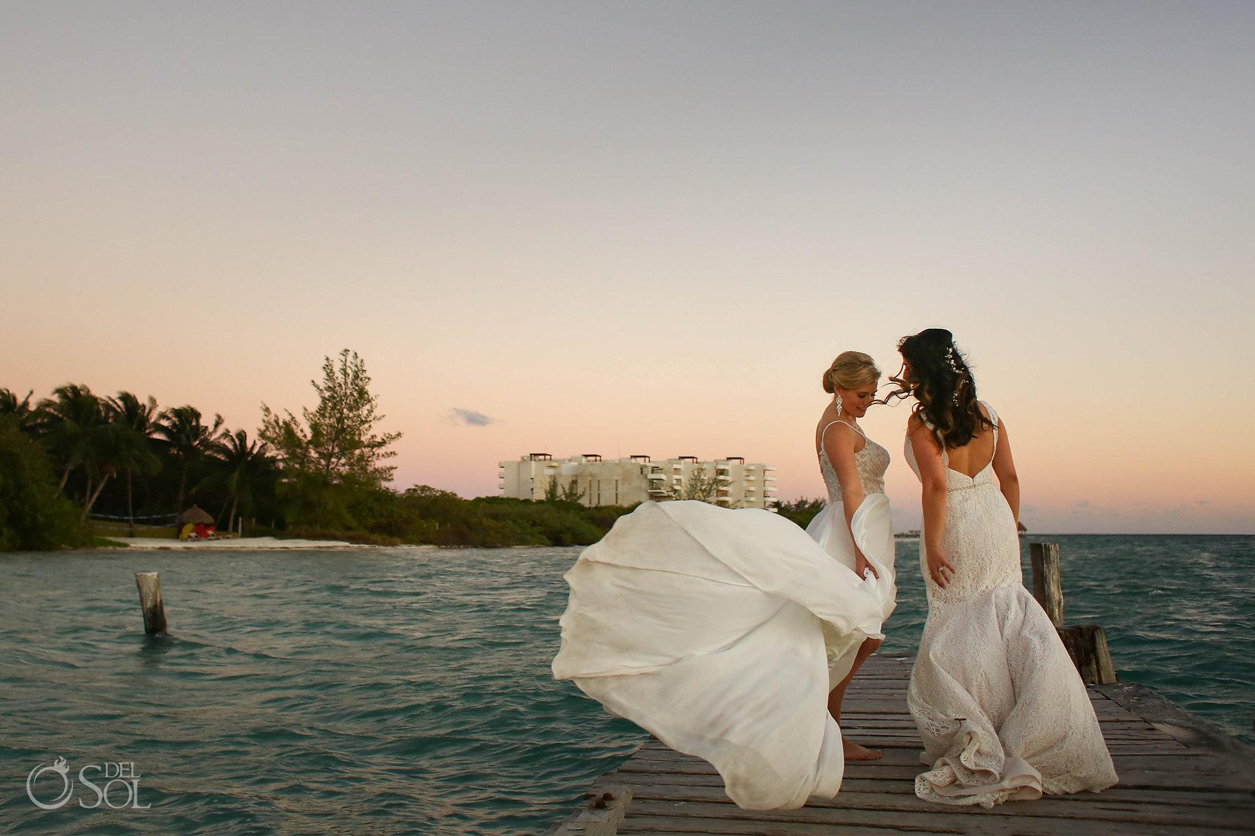 Love is Love Lesbian Brides Photo Session at Isla Mujeres wedding Zama Beach