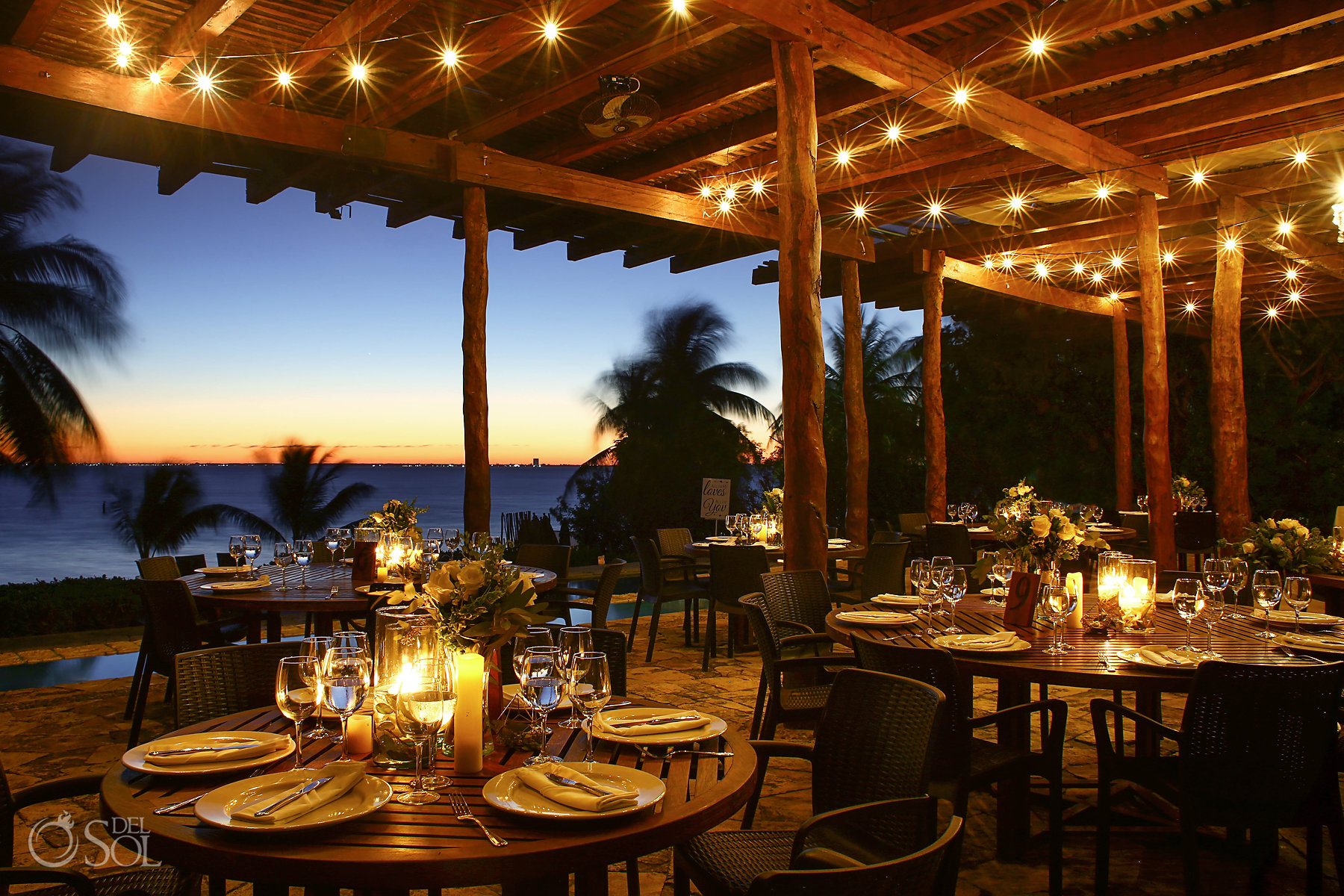 Sunset Set Up Isla Mujeres wedding Zama Beach