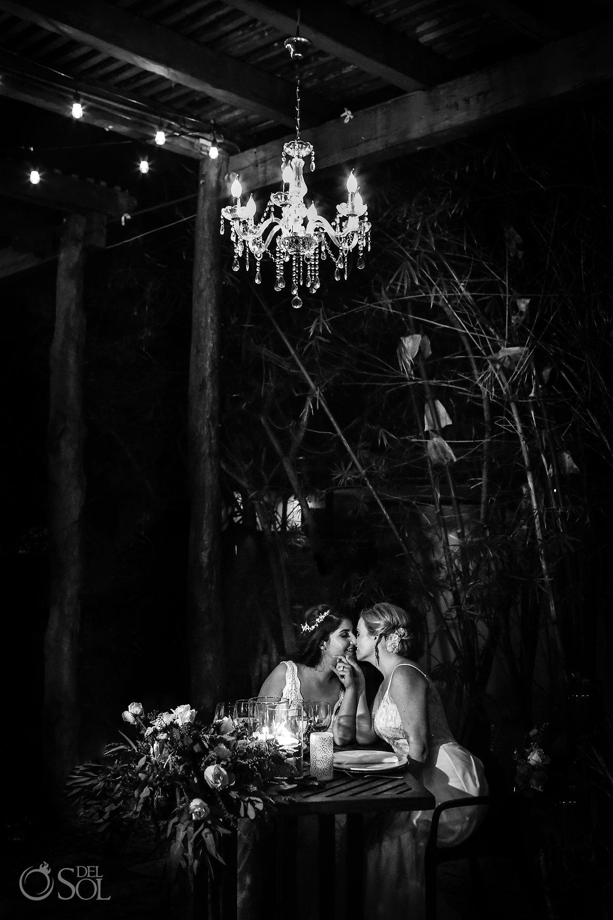 Romantic Black and White Lesbian Brides at Reception Isla Mujeres Zama Beach