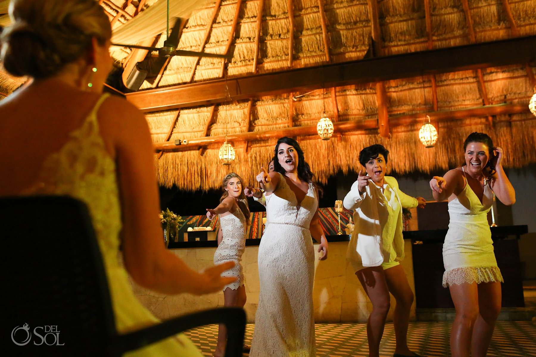 Surprise bride and bridesmaid party dance for lesbian couple Wedding reception Zama Beach