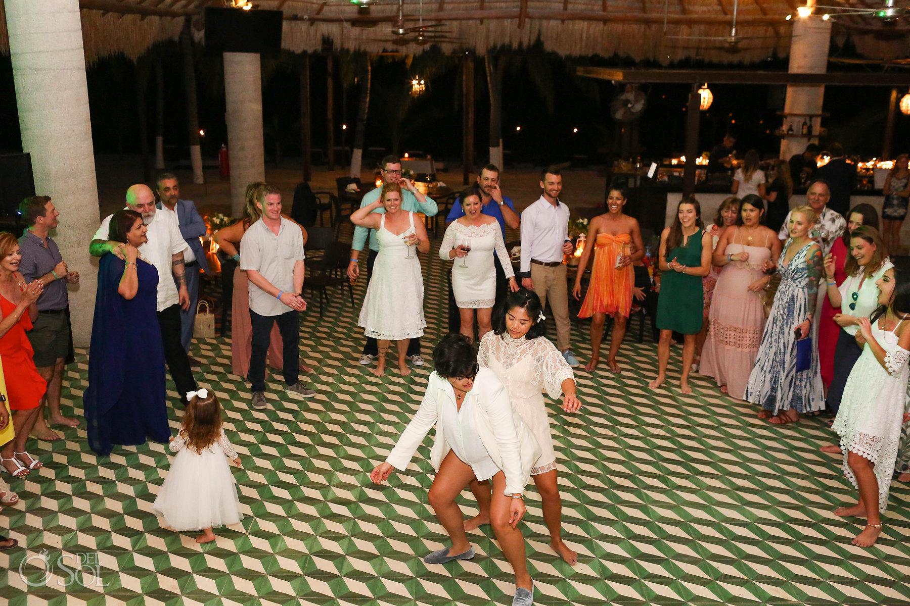 Sexy Funny Lesbian dancing at Wedding reception Isla Mujeres Zama Beach