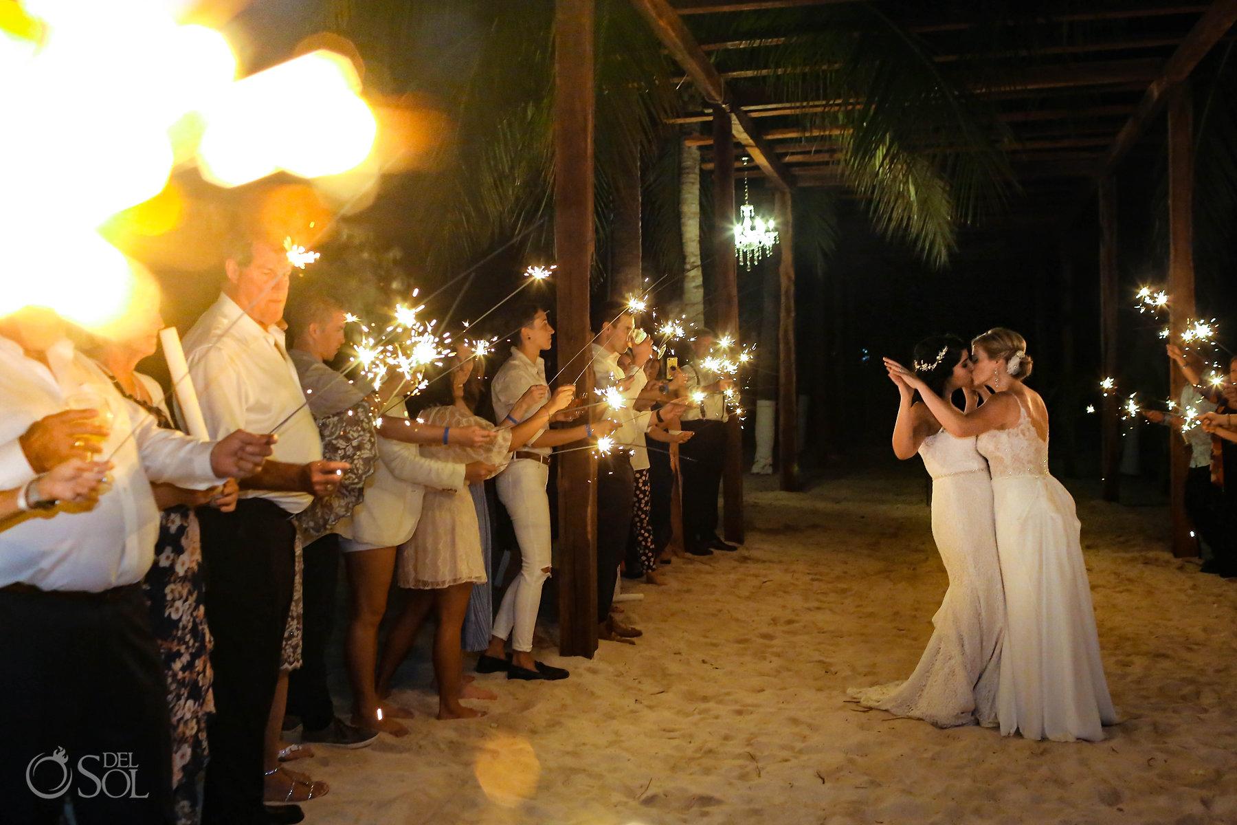 LGBT Wedding Sparklers lesbian brides kissing