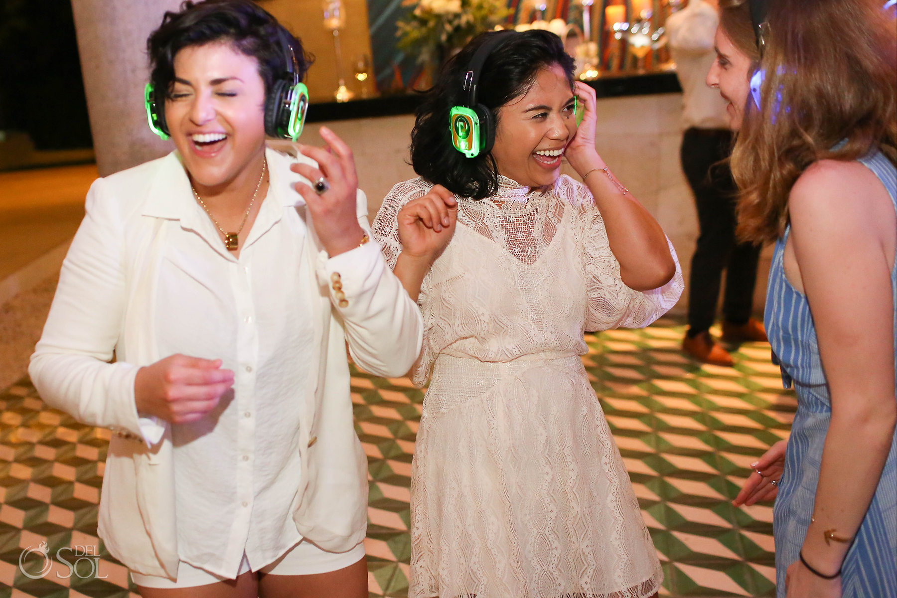 Silent disco Lesbian wedding reception