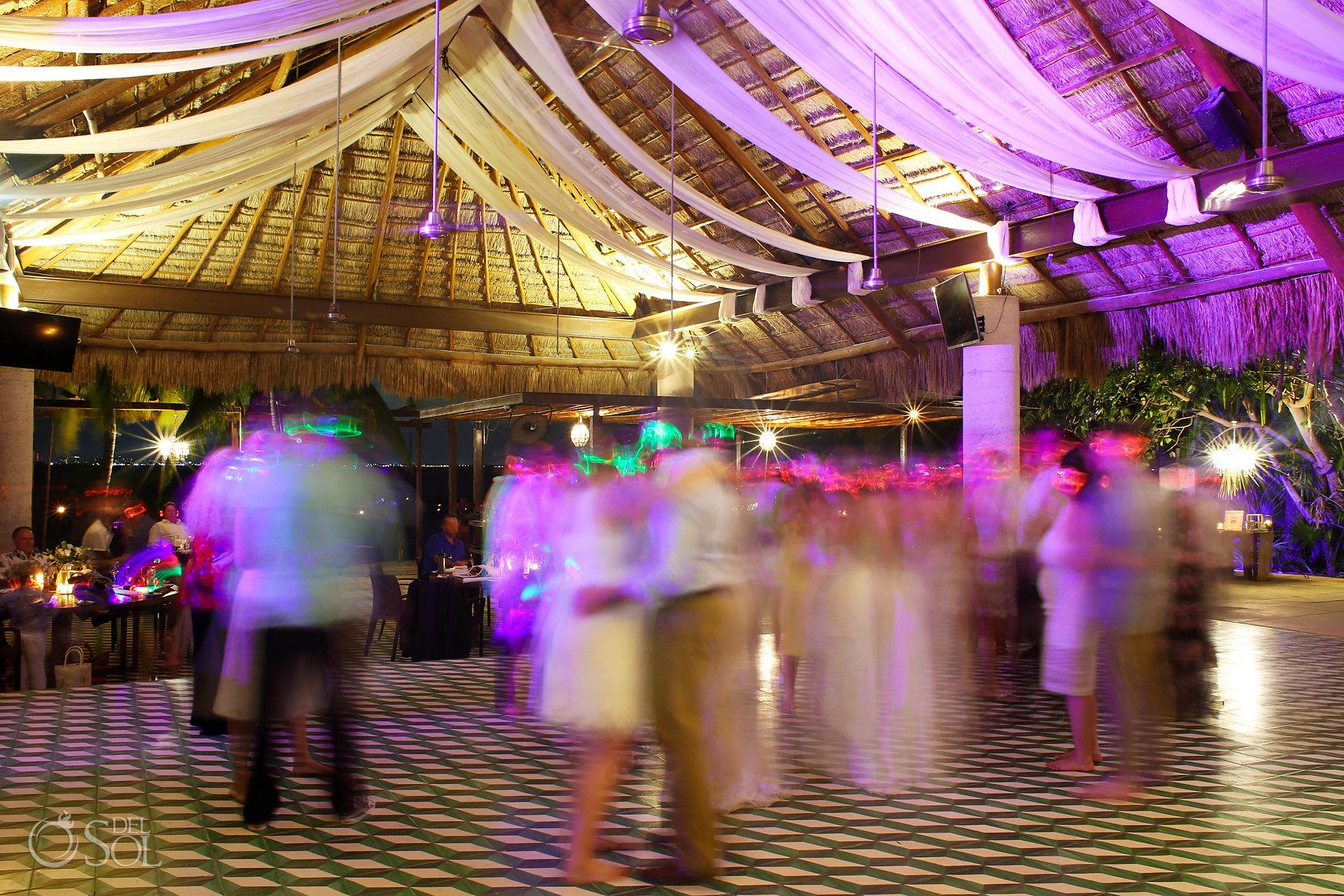 Silent disco at Isla Mujeres lesbian wedding reception Zama Beach