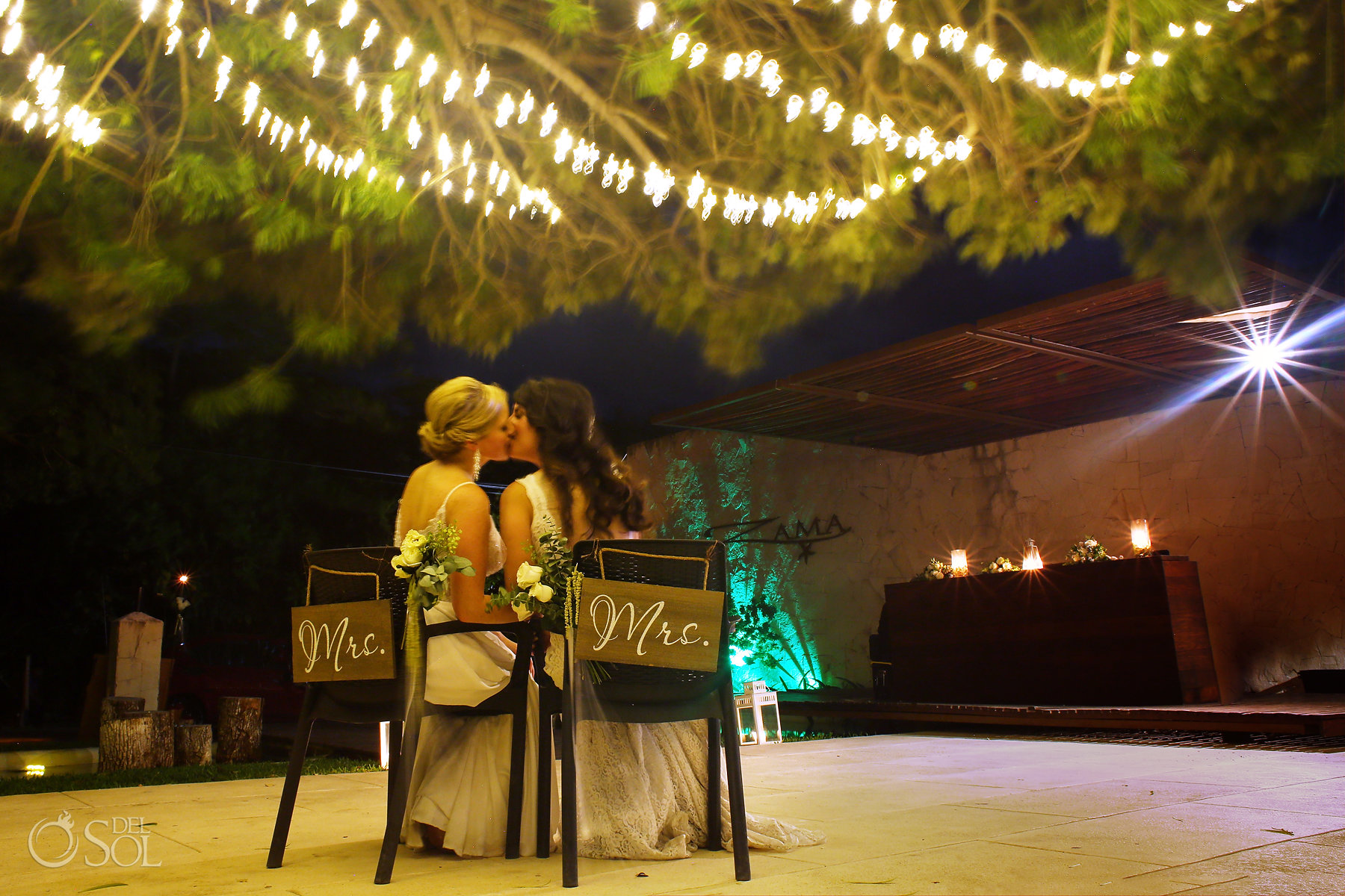 Mrs. and Mrs. Lesbian wedding boards kiss
