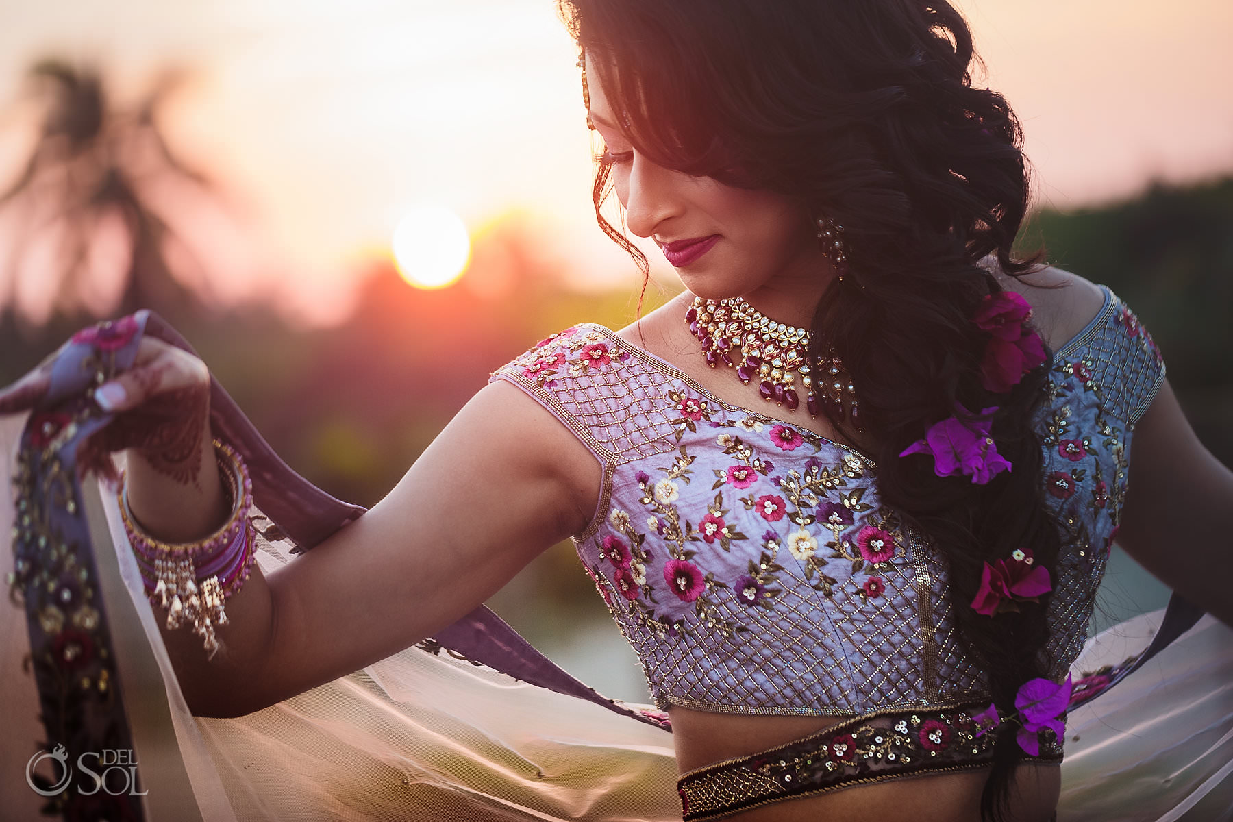 Tulum Indian wedding portrait bride wearing pink lilac lehenga sari